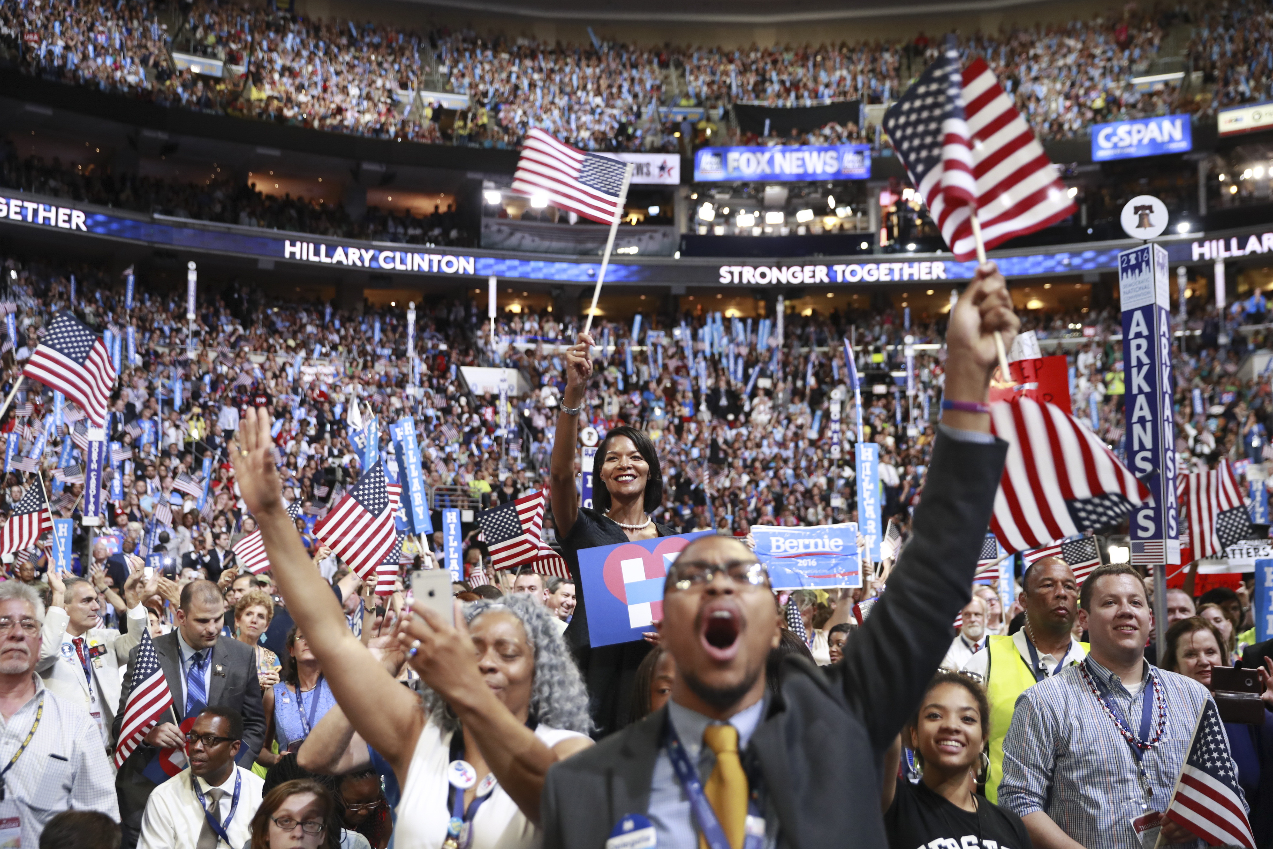 A diverse crowd cheers as Hillary Clinton accepts the Democratic presidential nomination on July 28 in Philadelphia. (Damon Winter/New York Times)
