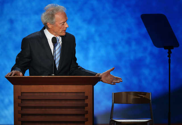Clint Eastwood speaks to the empty chair at the 2012 Republican National Convention.
