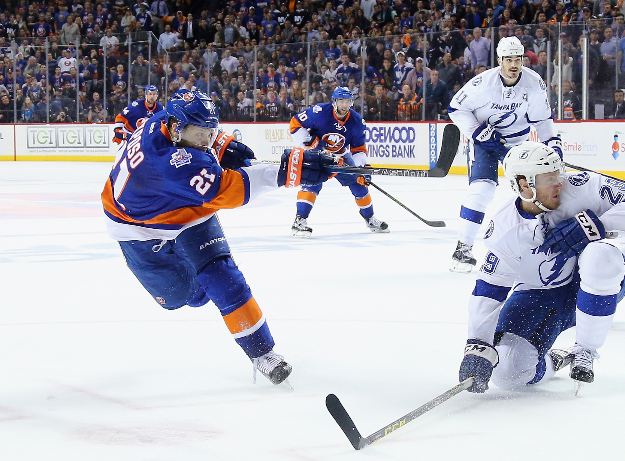The signing of Kyle Okposo shows Buffalo is a destination, Tim Murray said.  (Photo by Bruce Bennett/Getty Images)