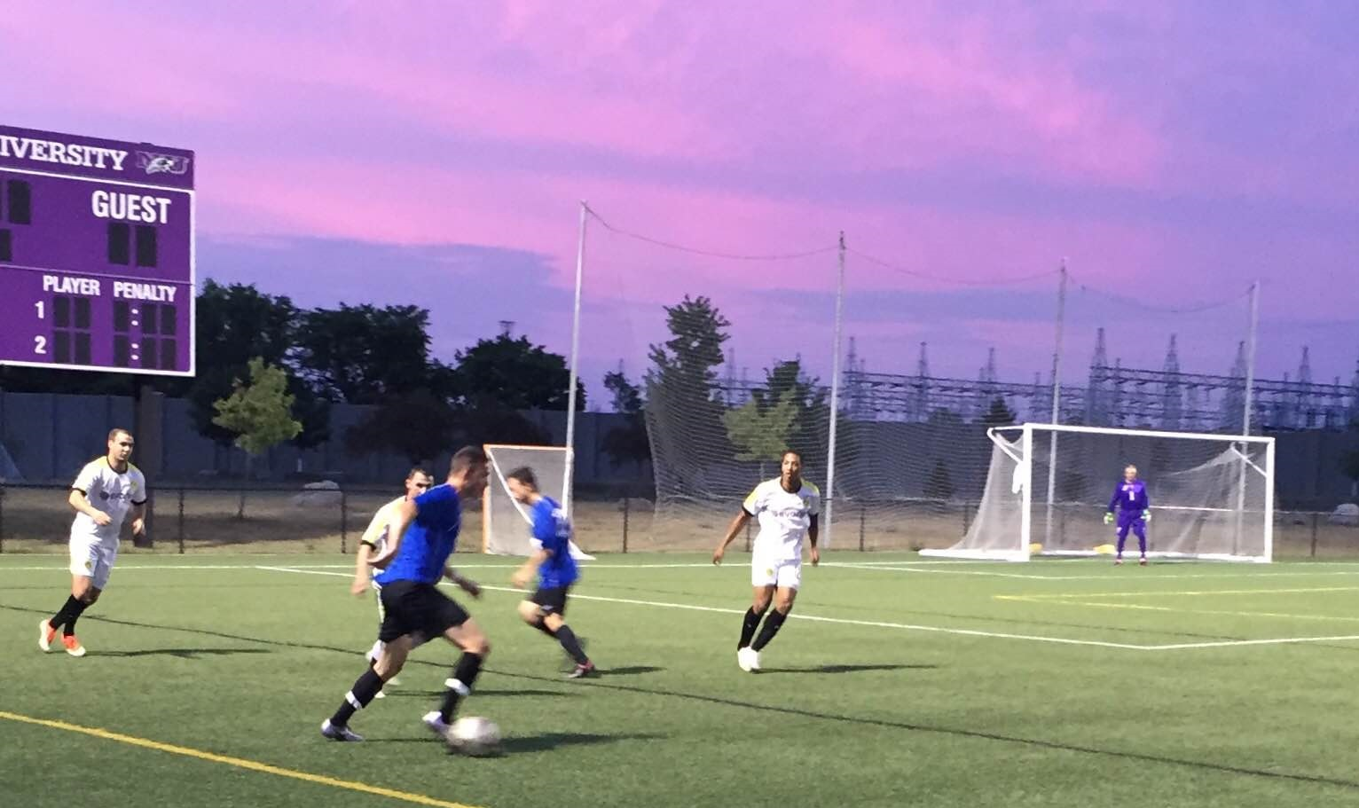 Both BSC Raiders, in blue, and Clarence are in action Sunday in the BDSL premier quarterfinals. (Ben Tsujimoto/Buffalo News)