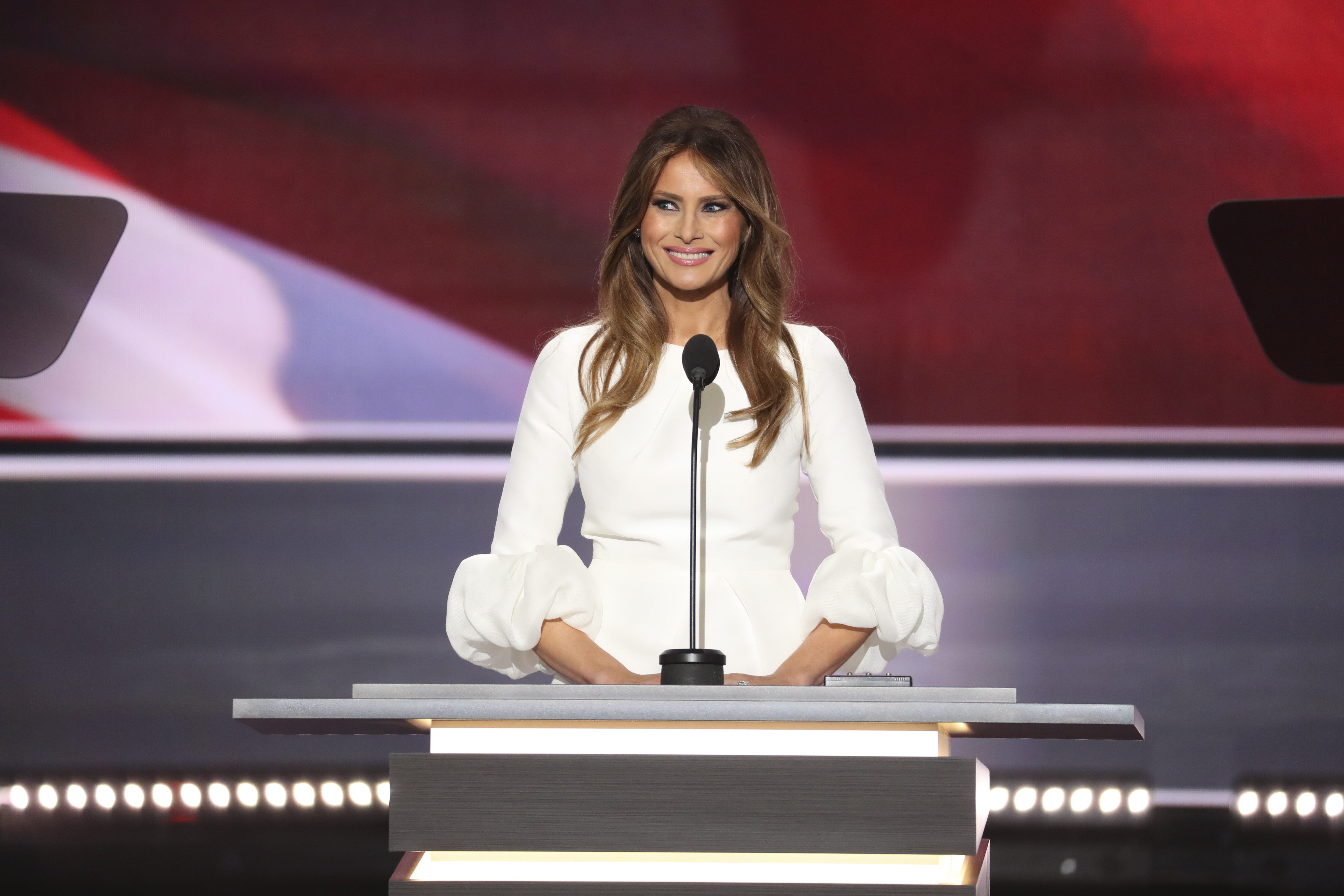 Melania Trump speaks during the Republican National Convention at the Quicken Loans Arena in Cleveland, July 18, 2016.  Longtime employee Meredith McIver of the Trump Organization took responsibility for lifting two passages from a speech by first lady Michelle Obama in 2008 for Melania Trump's Monday address at the convention, saying that it was an innocent mistake. (New York Times)