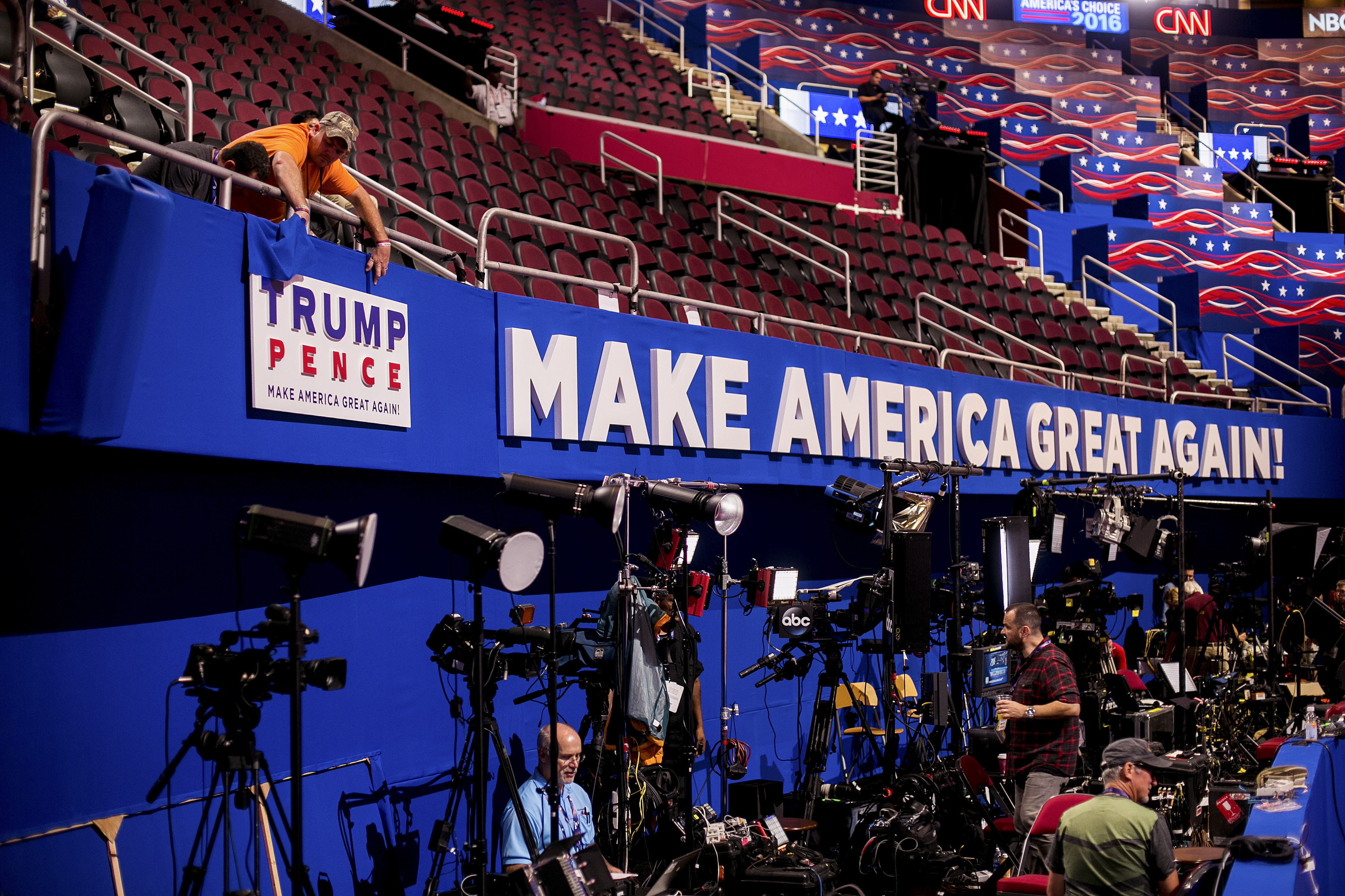 A Donald Trump and Mike Pence sign is placed inside Quicken Loans Arena before the Republican National Convention in Cleveland on July 17. (Sam Hodgson/New York Times)