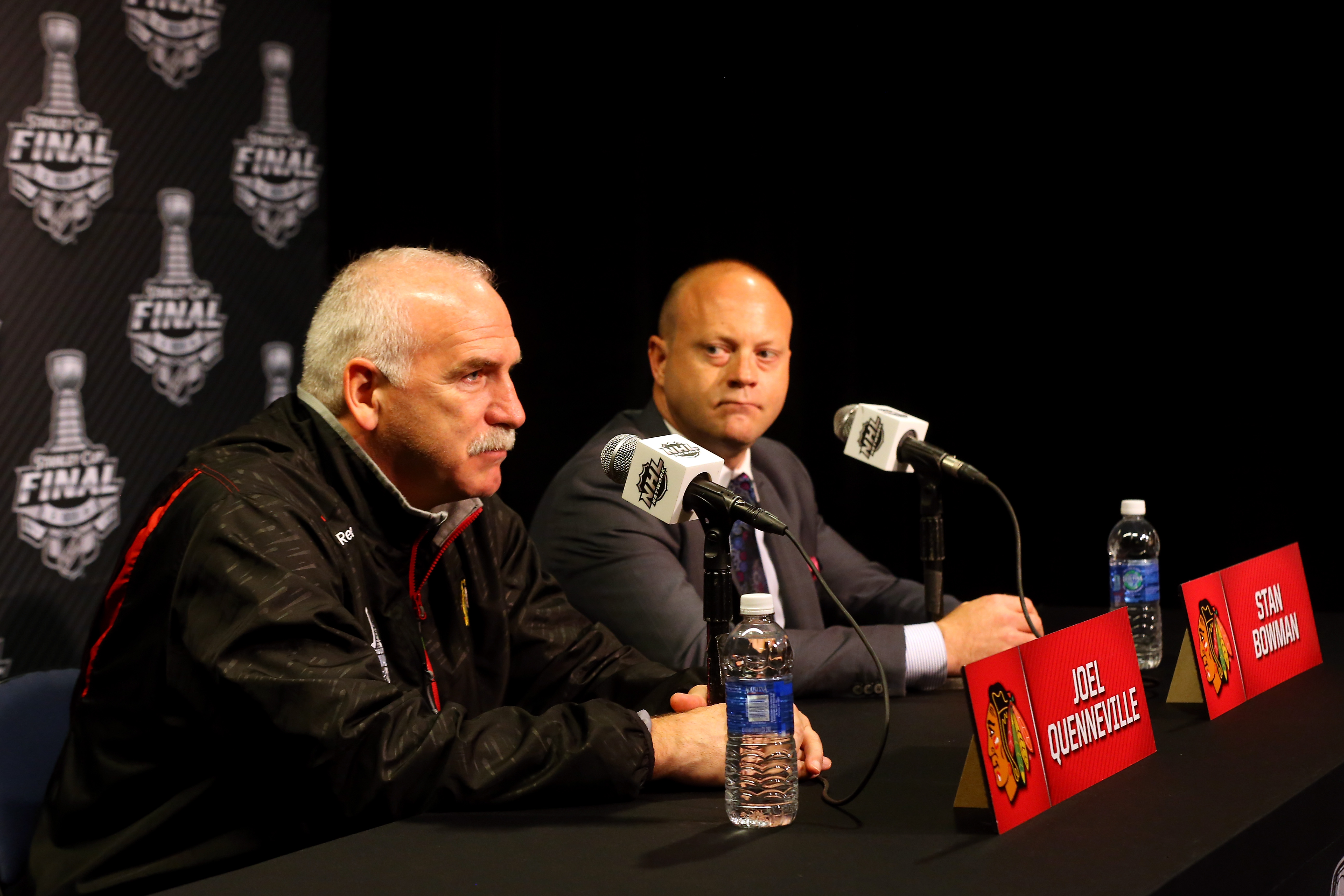 Are Hawks coach Joel Quenneville and GM Stan Bowman hoping to make a play on Jimmy Vesey? (Getty Images).
