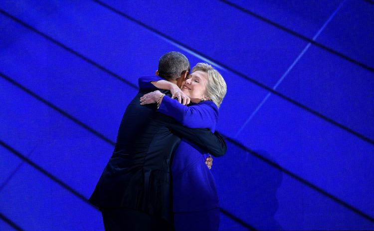 President Obama and Democratic presidential nominee Hillary Clinton on stage during the third day of the Democratic National Convention at the Wells Fargo Center in Philadelphia on Wednesday, July 27, 2016. (Olivier Douliery/Abaca Press/TNS)