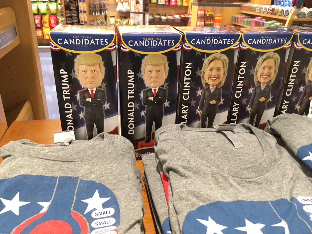 Inside the terminal, the great bobble-heads for sale in the airport. Only a few Donald Trump ones were left when I was there, but plenty of Hillary Clinton were left.