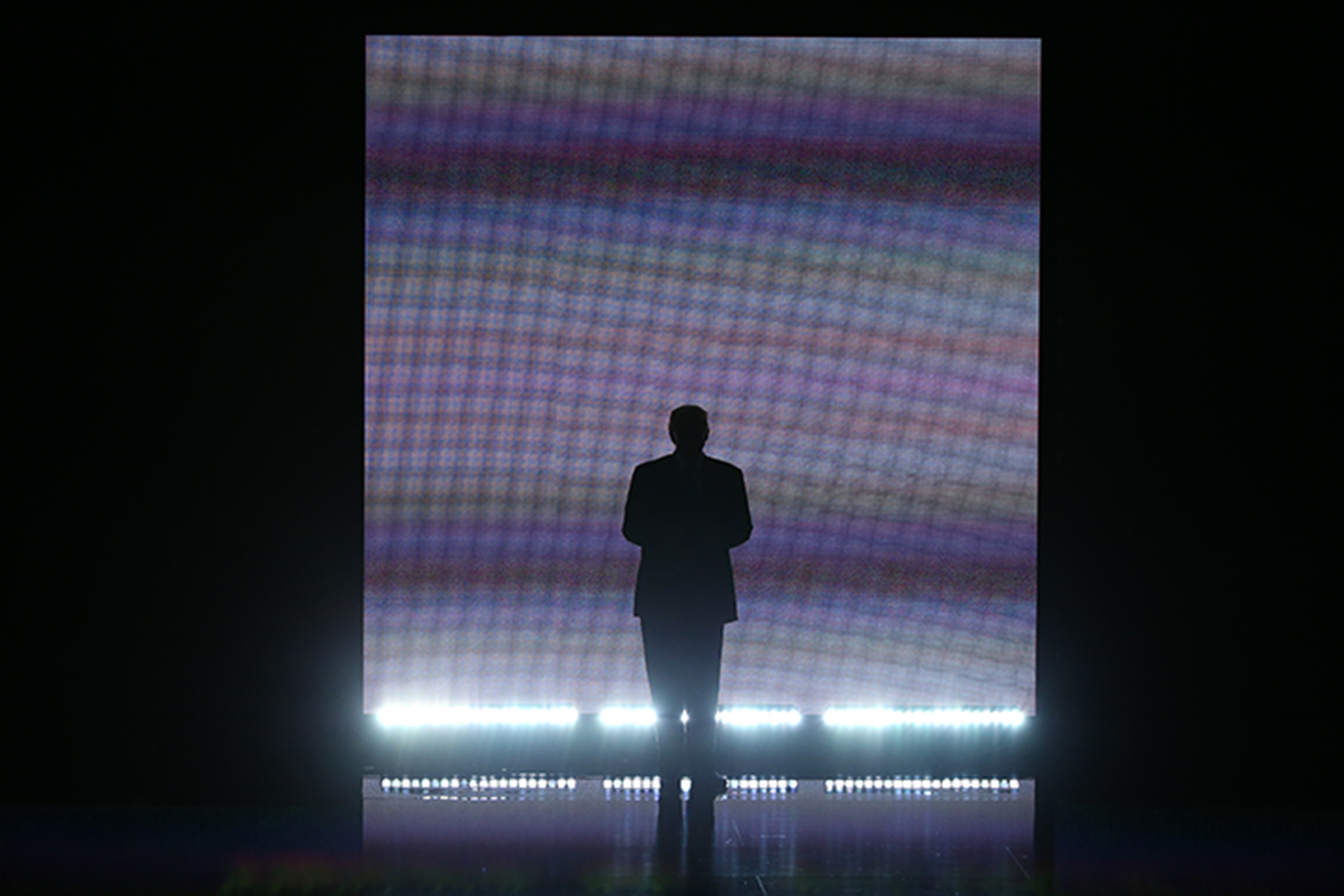 Donald Trump makes an entrance on stage during the Republican National Convention in Cleveland. (David Paul Morris/Bloomberg)