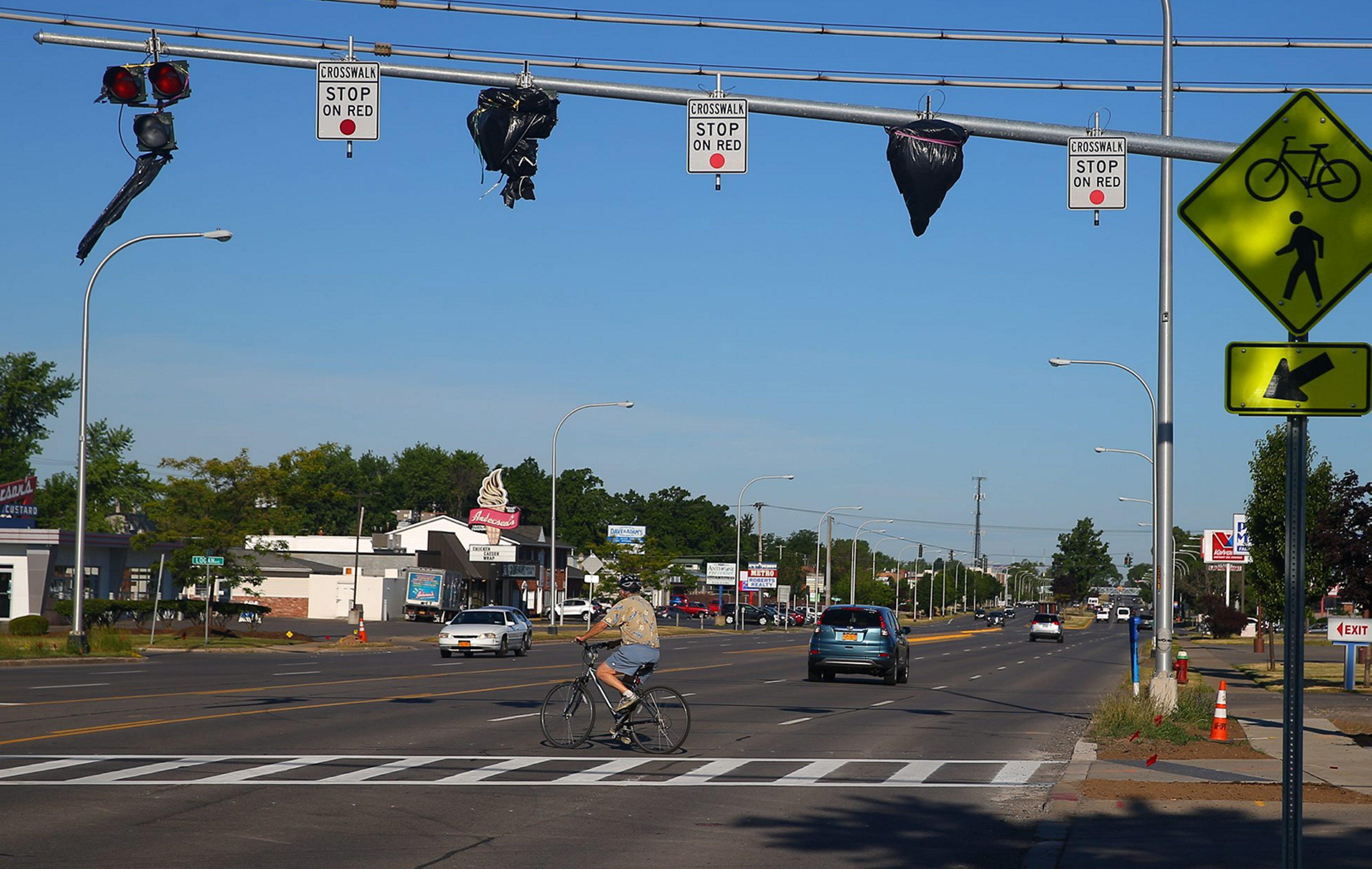 The High-intensity Activated crossWalK (HAWK) signal at Rails to Trails crossing at Sheridan Drive in Town of Tonawanda. (John Hickey/Buffalo News)