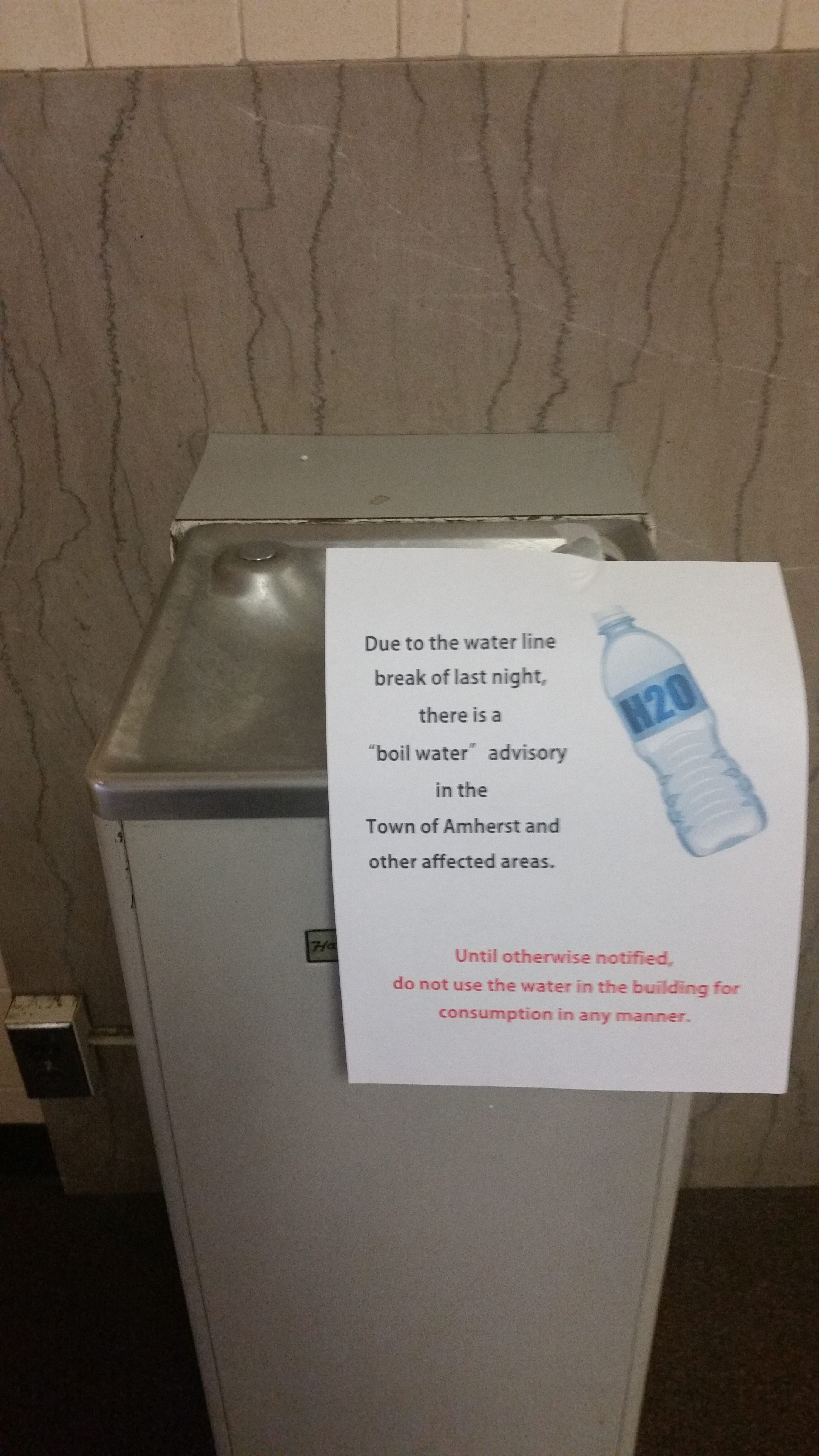 Signs have been placed on water fountains in Amherst town buildings to alert people about the water situation. (James Zymanek, Director of Town of Amherst Emergency Services)