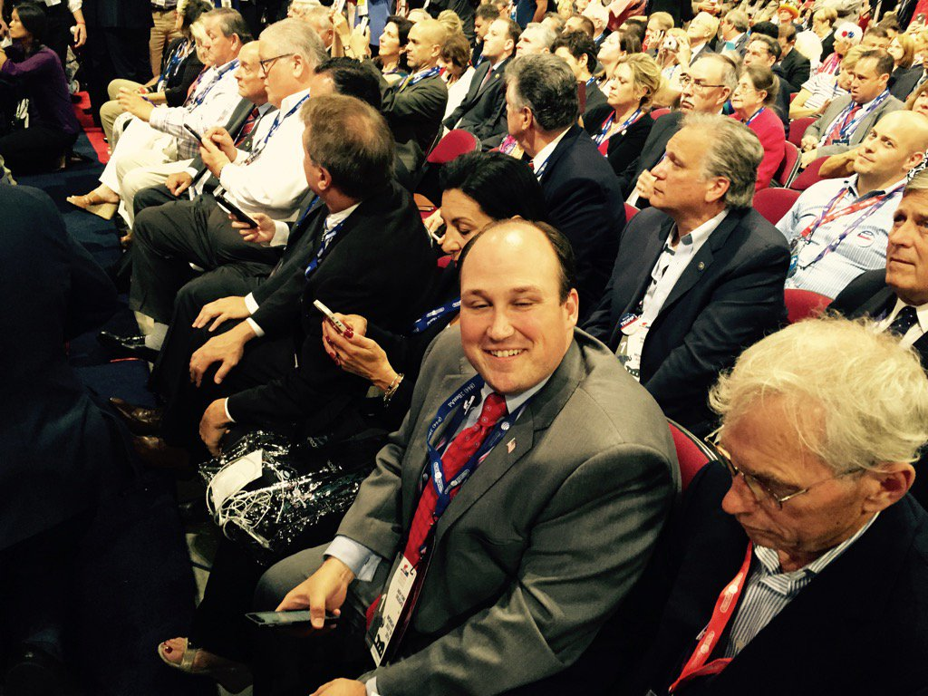 Erie County Republican Committee Chairman Nick Langworthy on the convention floor in Cleveland after he  helped thwart the anti-Trump procedural vote. (Bob McCarthy/Buffalo News)