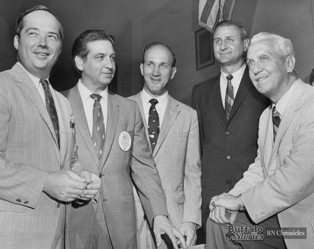 Erie County Democratic Chairman Joe Crangle, Erie County Sheriff Michael Amico, Makowski, County Comptroller (later Congressman) Henry Nowak, and Mayor Frank Sedita. Buffalo News archives