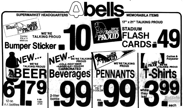 """Bells Markets became a clearing house for many """"Talking Proud"""" logo items. (Buffalo Stories archives)"""