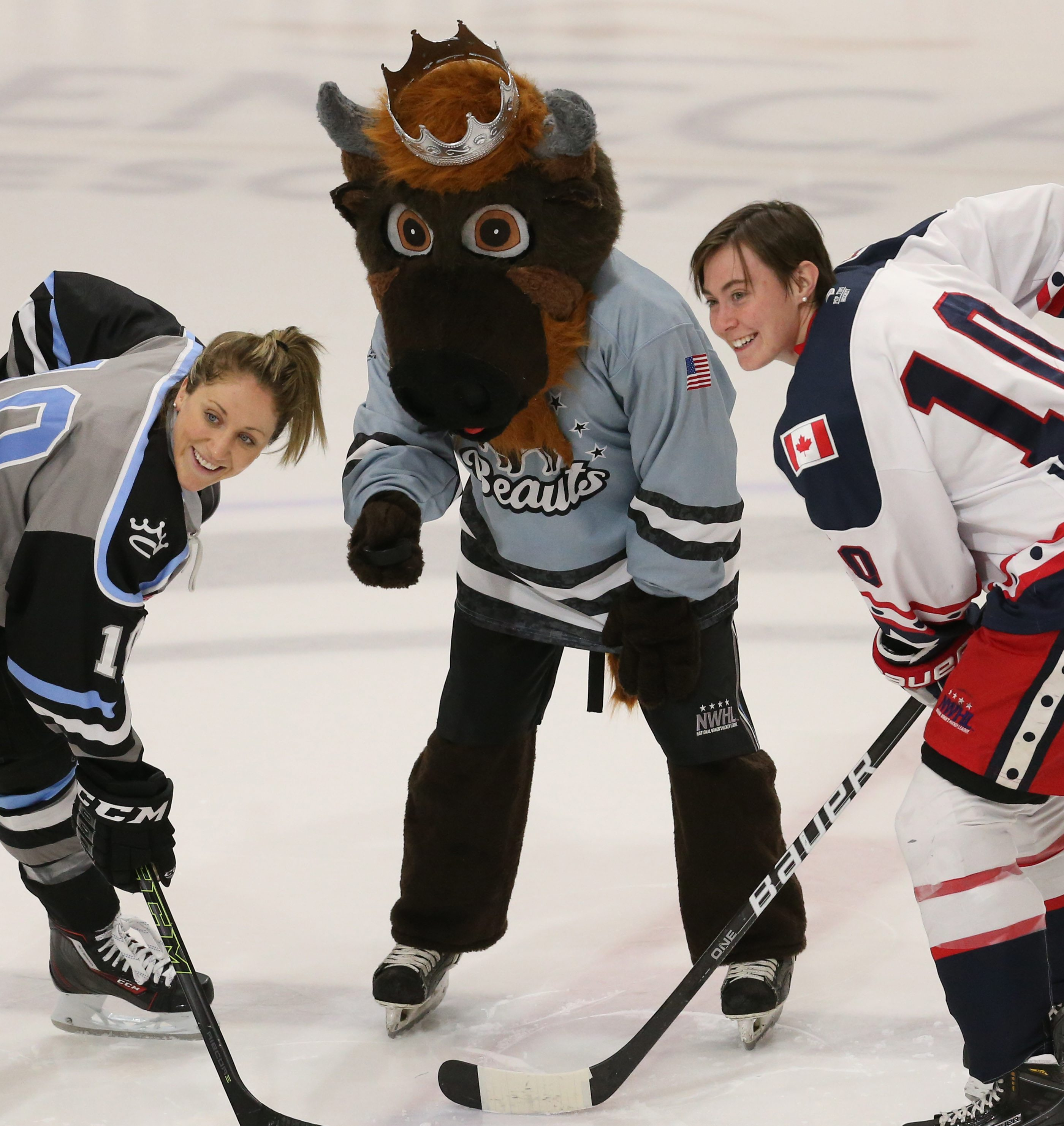 The Buffalo Beauts (and mascot Krusher) will host the Connecticut Whale on Sunday. (James P. McCoy/ Buffalo News)
