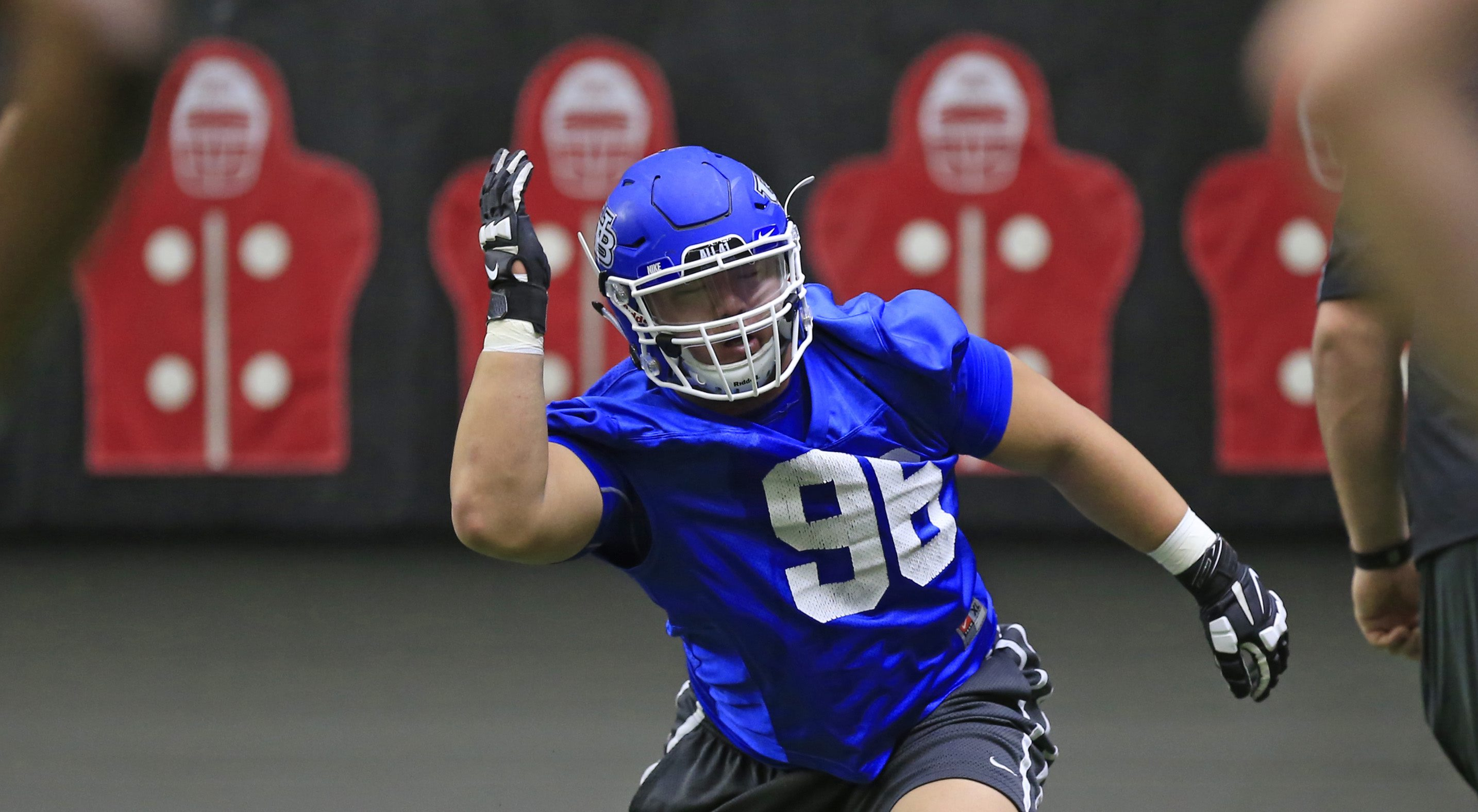 Duke Hwang works on defensive drills during spring practice at the ADPRO training center on Thursday, March 24, 2016. (Harry Scull Jr./Buffalo News)