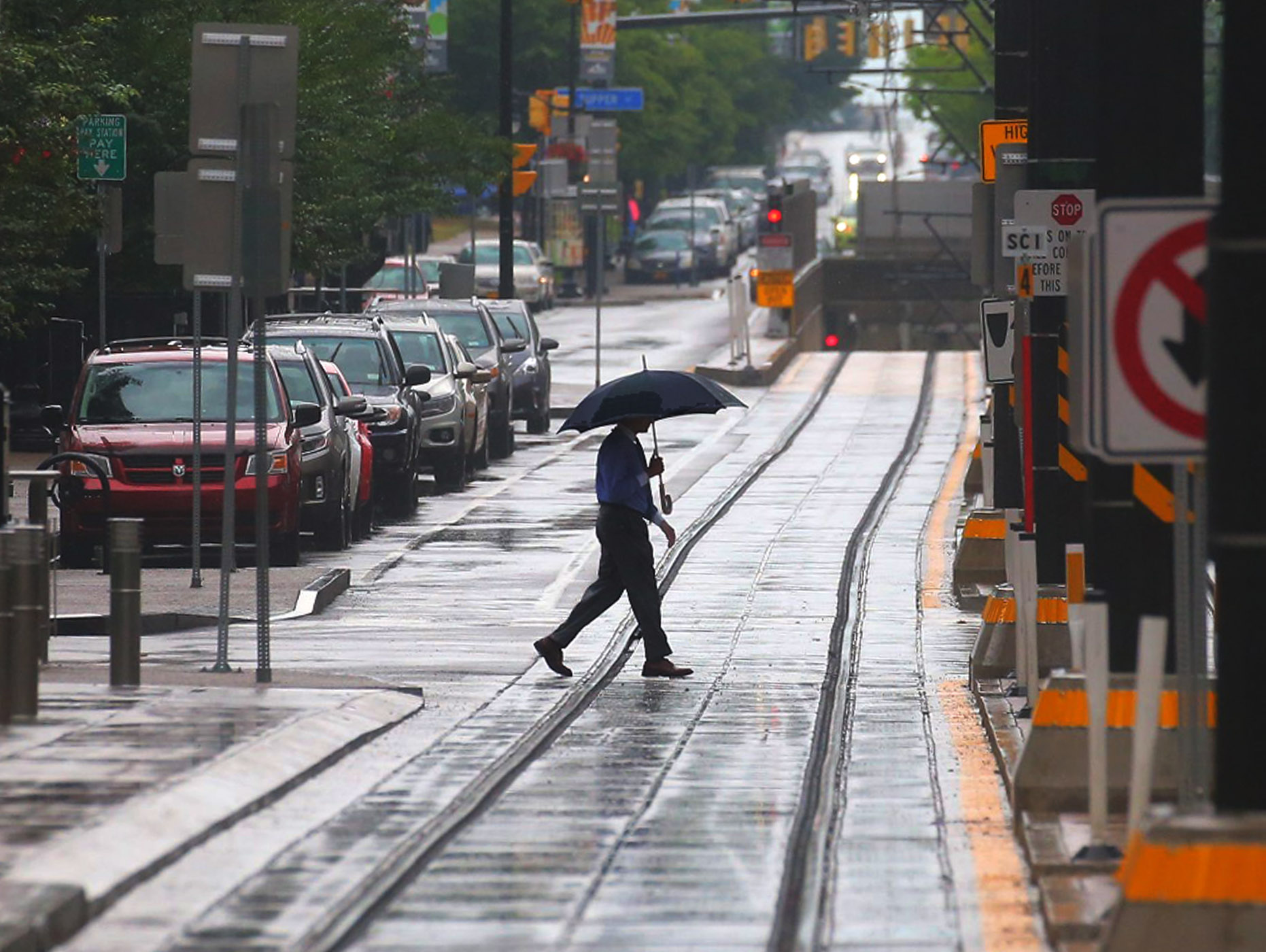 Some needed rain fell in the Buffalo area Thursday. The scene was similar to some downtown rainfall from last month. (John Hickey/Buffalo News file photo)