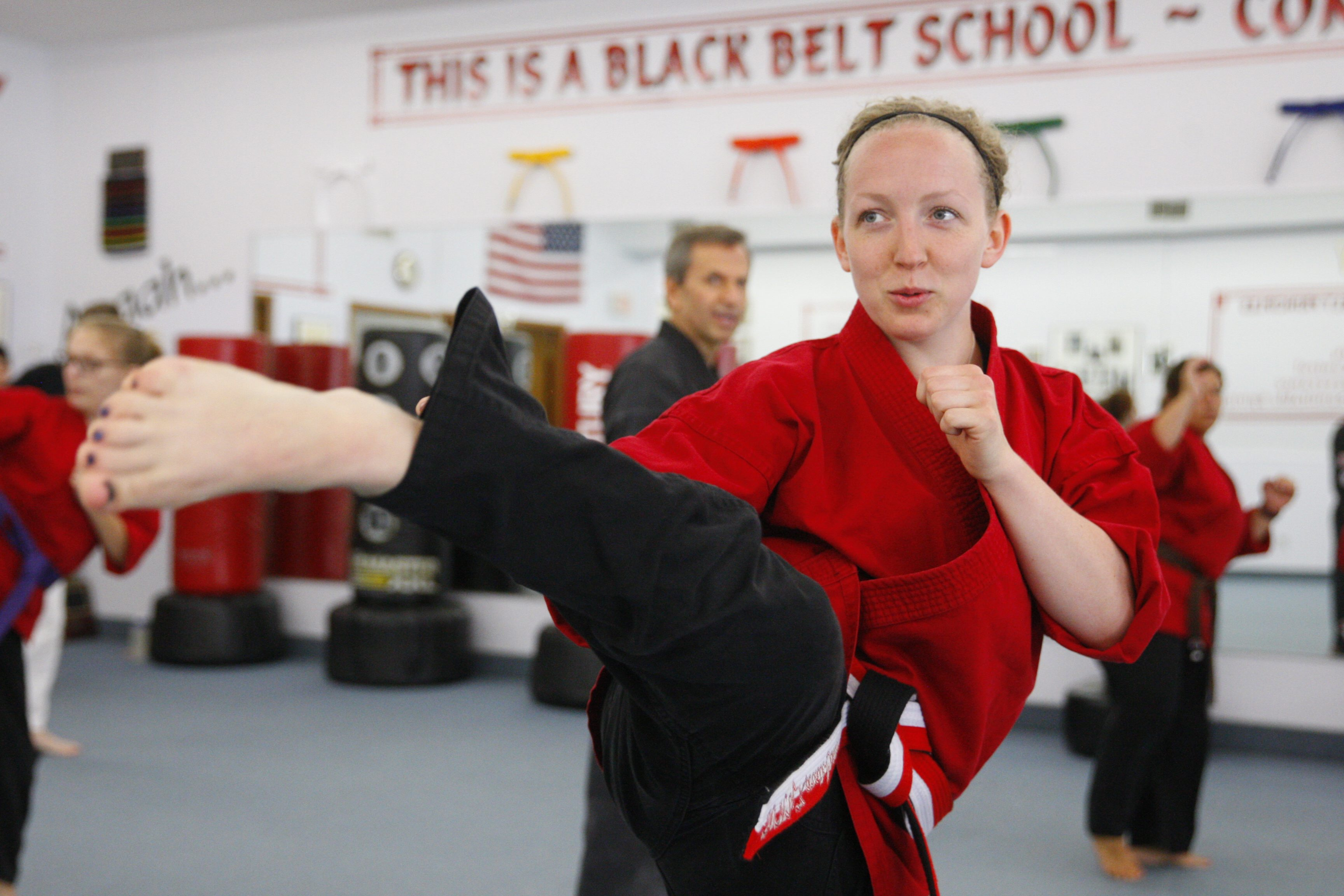 Alicia Hargadon, a nurse at Roswell Park Cancer Institute, is the first woman at the Western New York Karate Center to rise to a fifth-degree black belt. (Harry Scull Jr./Buffalo News)