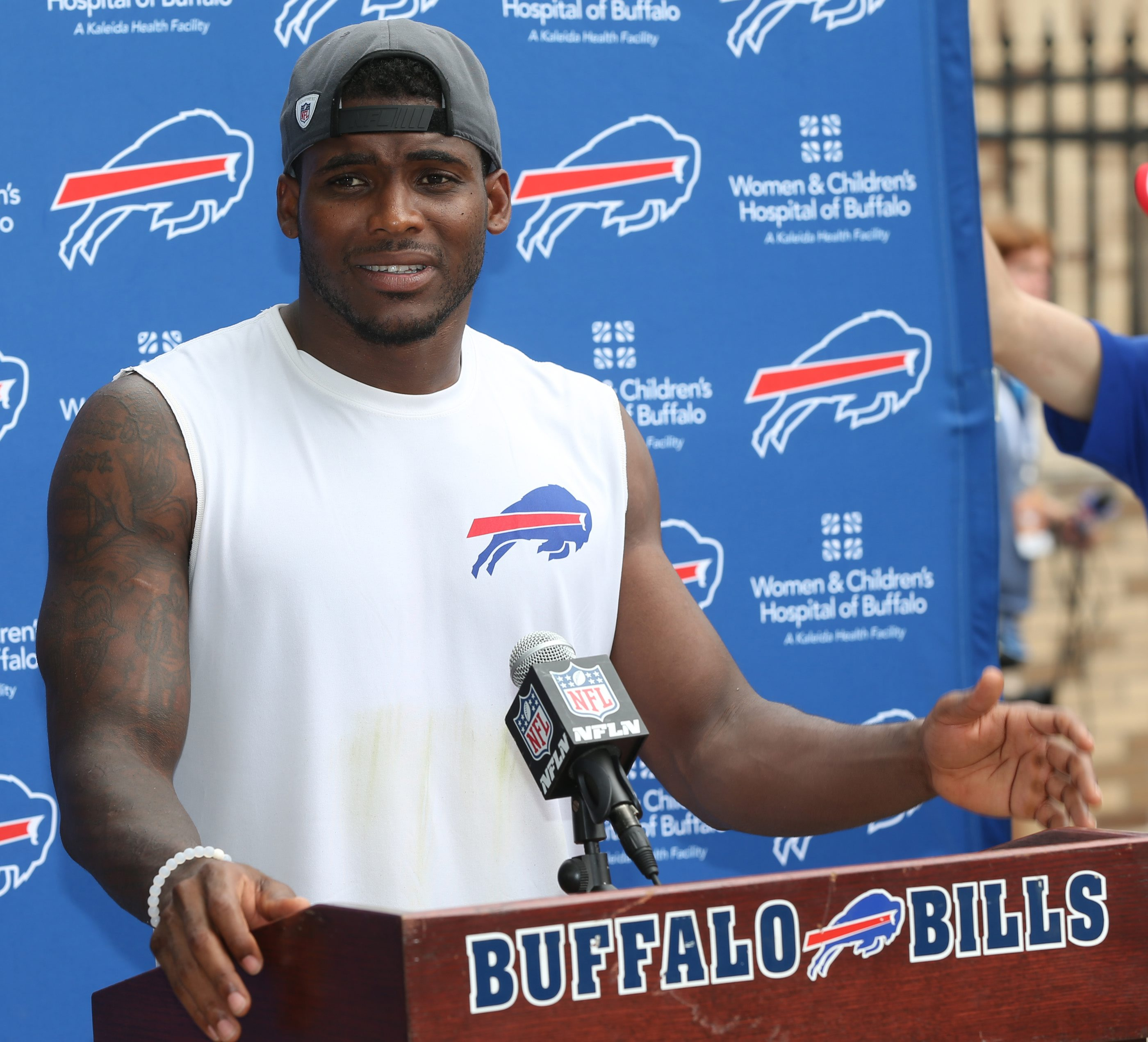 Buffalo Bills strong safety Aaron Williams (23) addressees the media after practice Aug. 1 at St. John Fisher College. (James P. McCoy/Buffalo News)