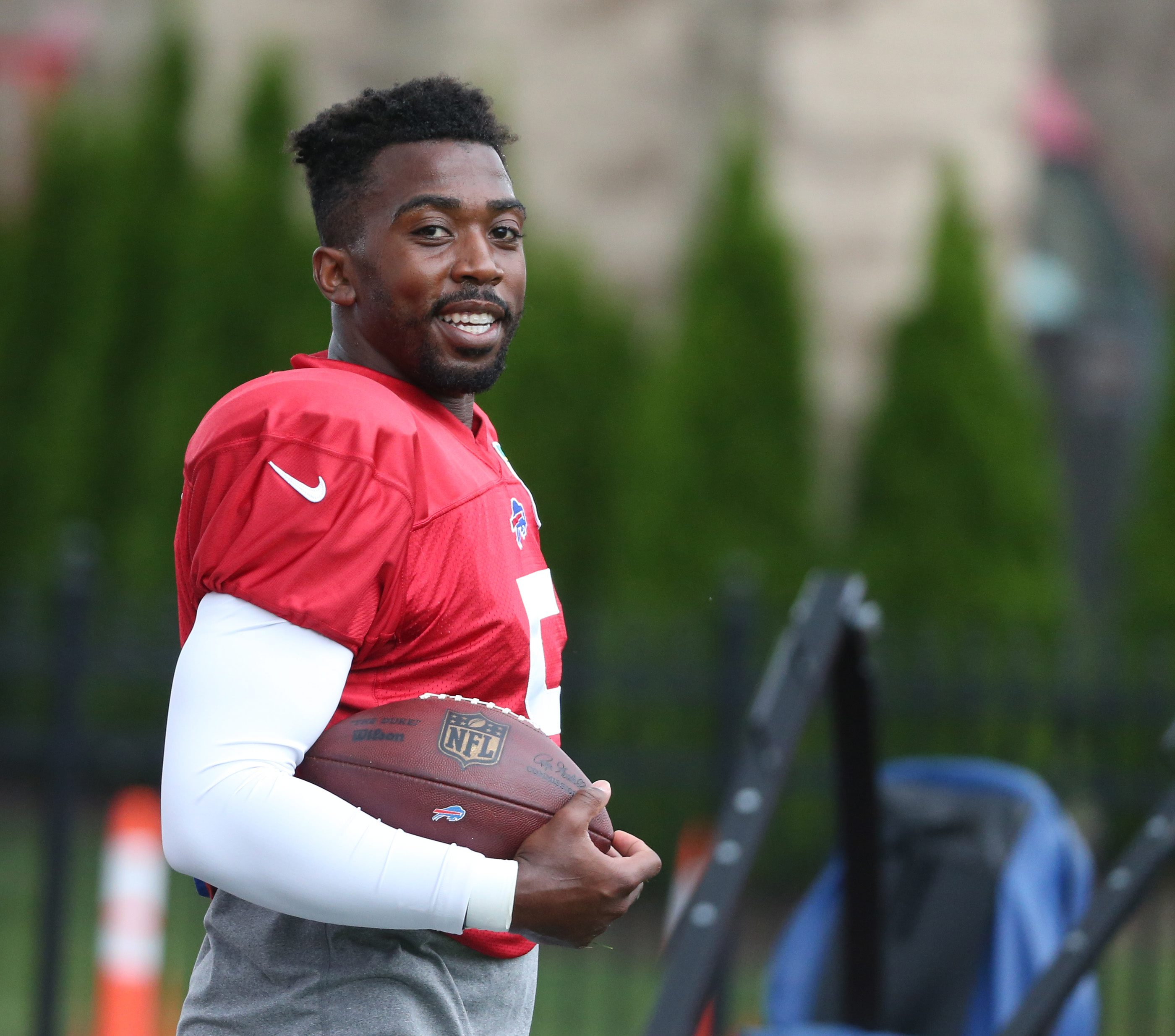 Quarterback Tyrod Taylor said he had 'no clue' about a recent report regarding a possible contract extension with the Bills. (James P. McCoy/ Buffalo News)