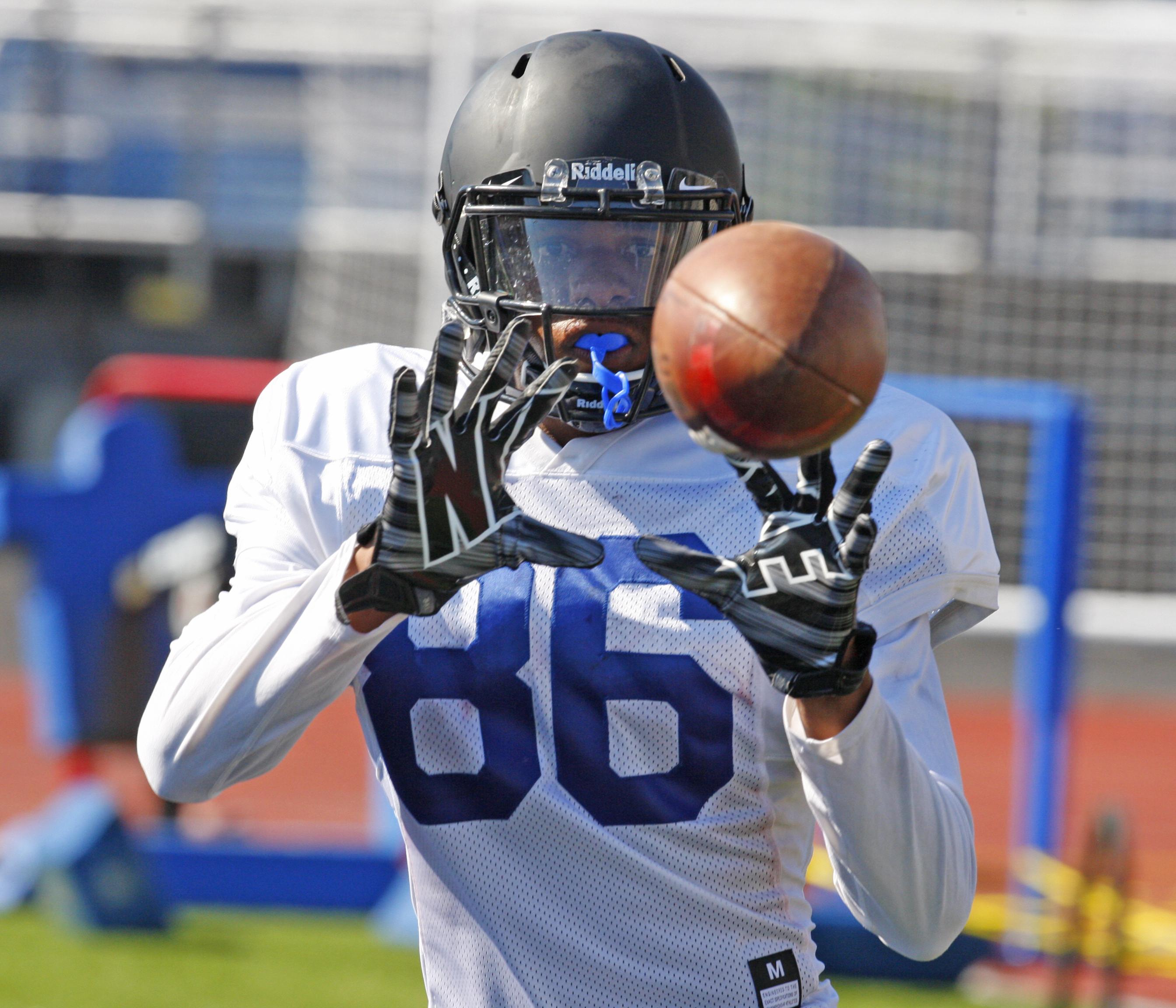 University at Buffalo football player Kamathi Holsey during practice on Tuesday, Aug. 9, 2016. (Harry Scull Jr./Buffalo News)