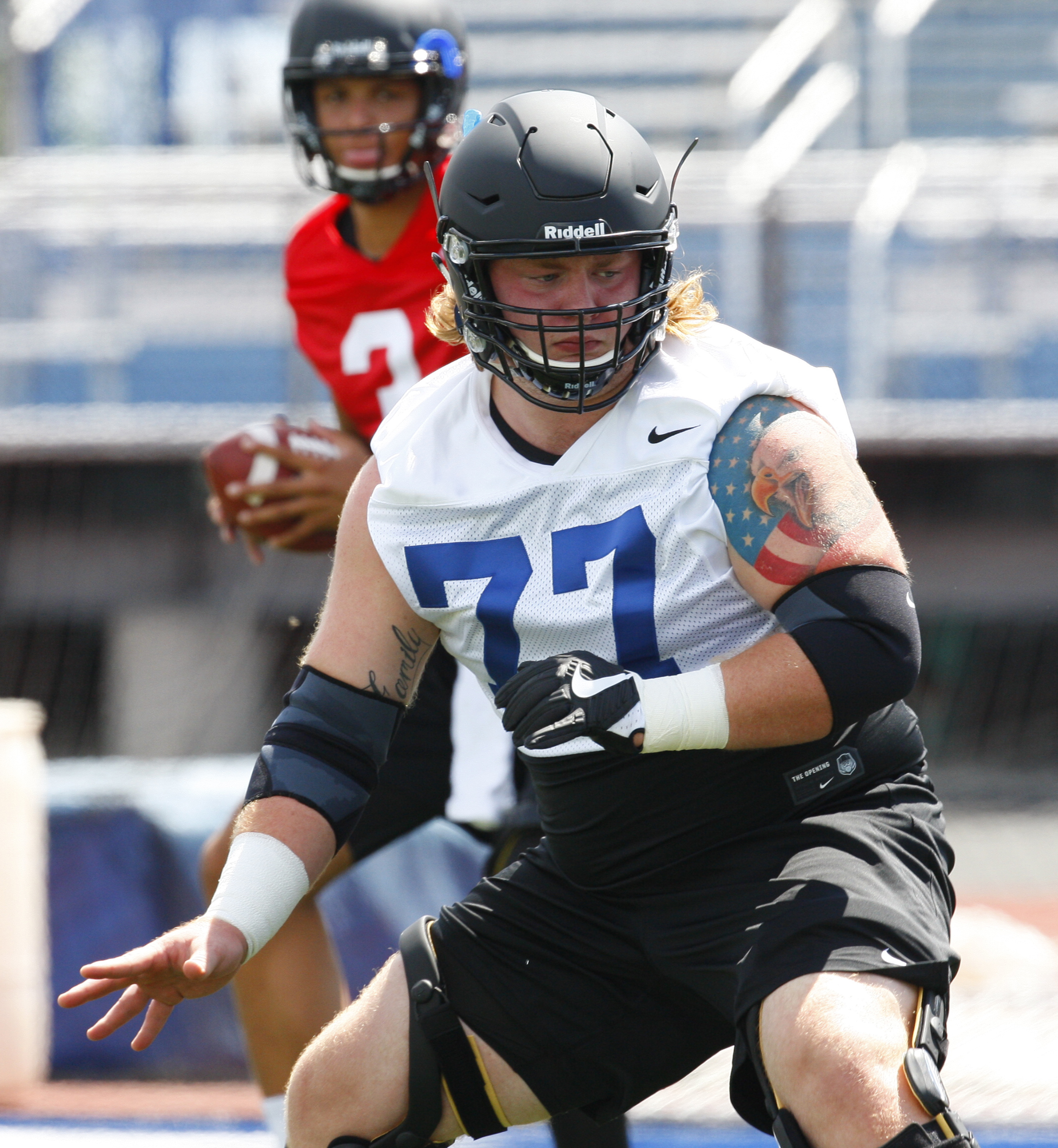 James O'Hagan anchors the UB OL. (Harry Scull Jr./Buffalo News)