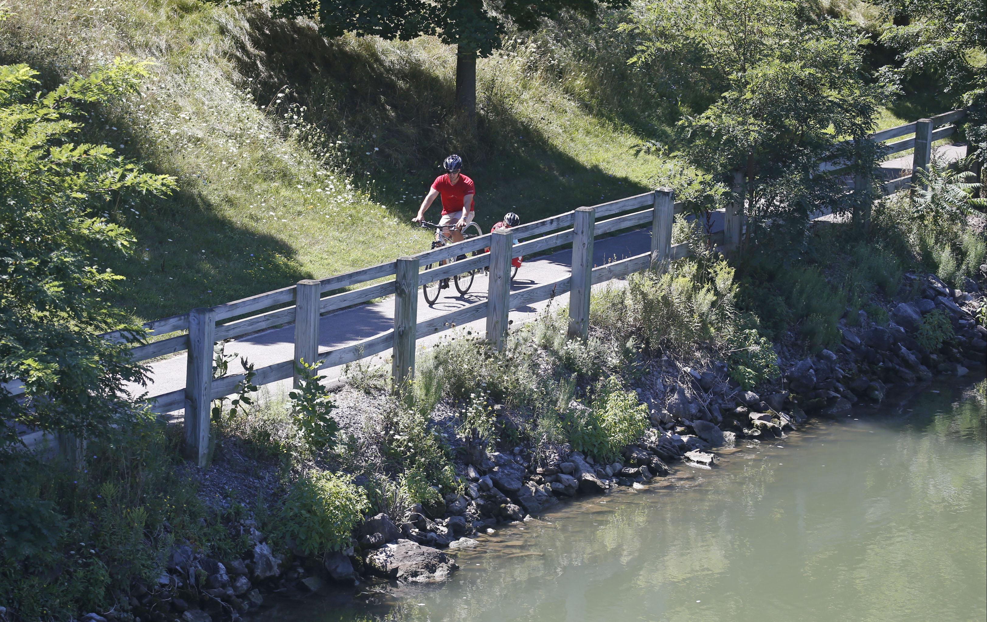 The scenic bike ride along the canal near the Matt Murphy Way and Market Street bridge in Lockport. (Robert Kirkham/Buffalo News)