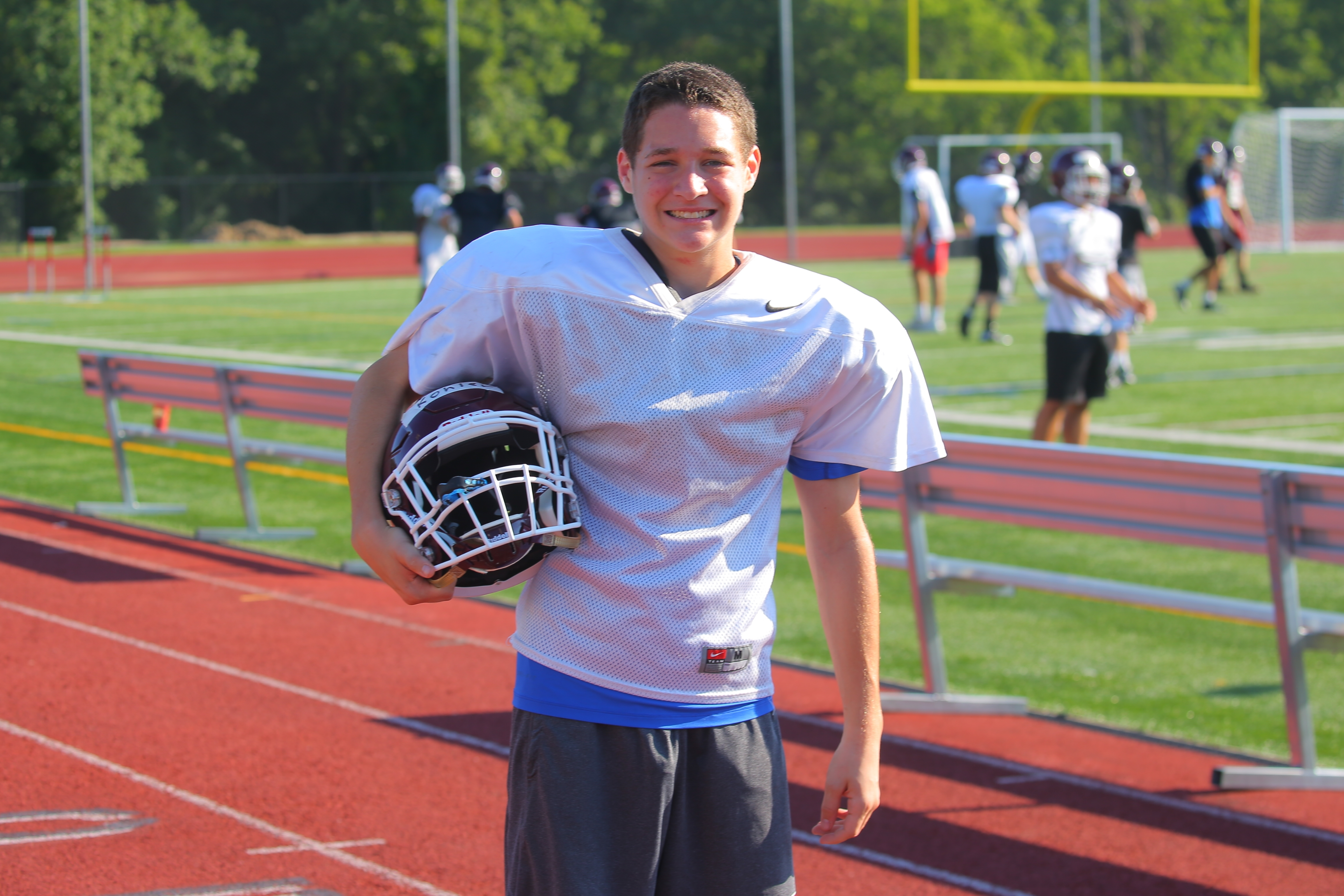 Jacob Kohler, a receiver on the Orchard Park football team, has been ruled ineligible to play because he's a fifth-year senior. Kohler, who was diagnosed with autism as a child, is appealing to the state Department of Education to overturn the Section VI ruling . Kohler is shown before  practice at the Orchard Park High School athletic field in Orchard Park, N.Y. on Friday Aug. 19, 2016.  (John Hickey/Buffalo News)
