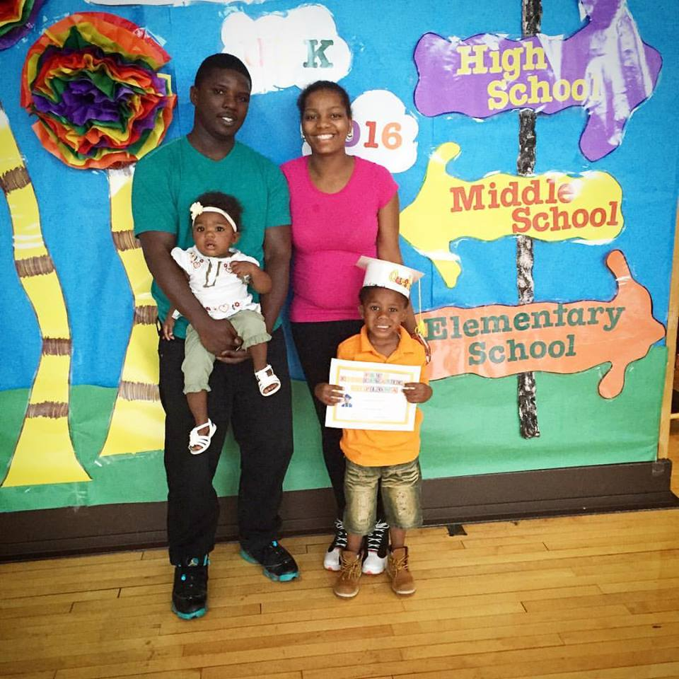 Queshawn and My-Kellia Jenkins, with Queshawn III at his preschool graduation; Queshawn Jr. holds their daughter, My-Lai. (Family photo)