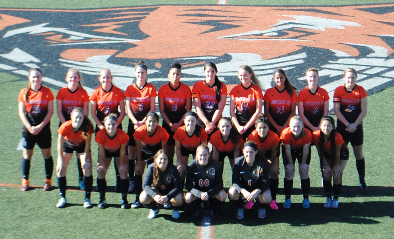 A 2015 team picture of the Buffalo State College women's soccer team. (Buffalo State Athletics)