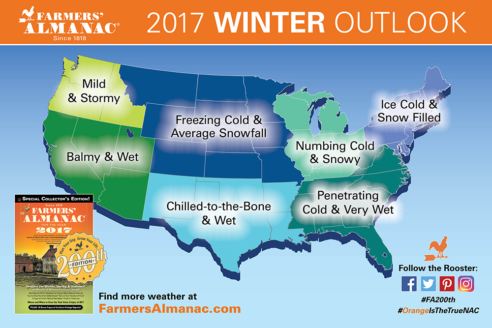 The 2016-17 winter weather forecast by the Farmers' Almanac.