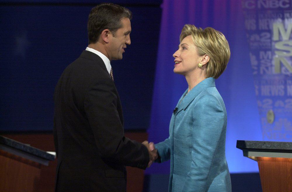 U.S. Senate candidates Rick Lazio and Hillary Clinton shake before their debate at the WNED studios in Buffalo on Sept. 13, 2000. (Mark Mulville/Buffalo News)
