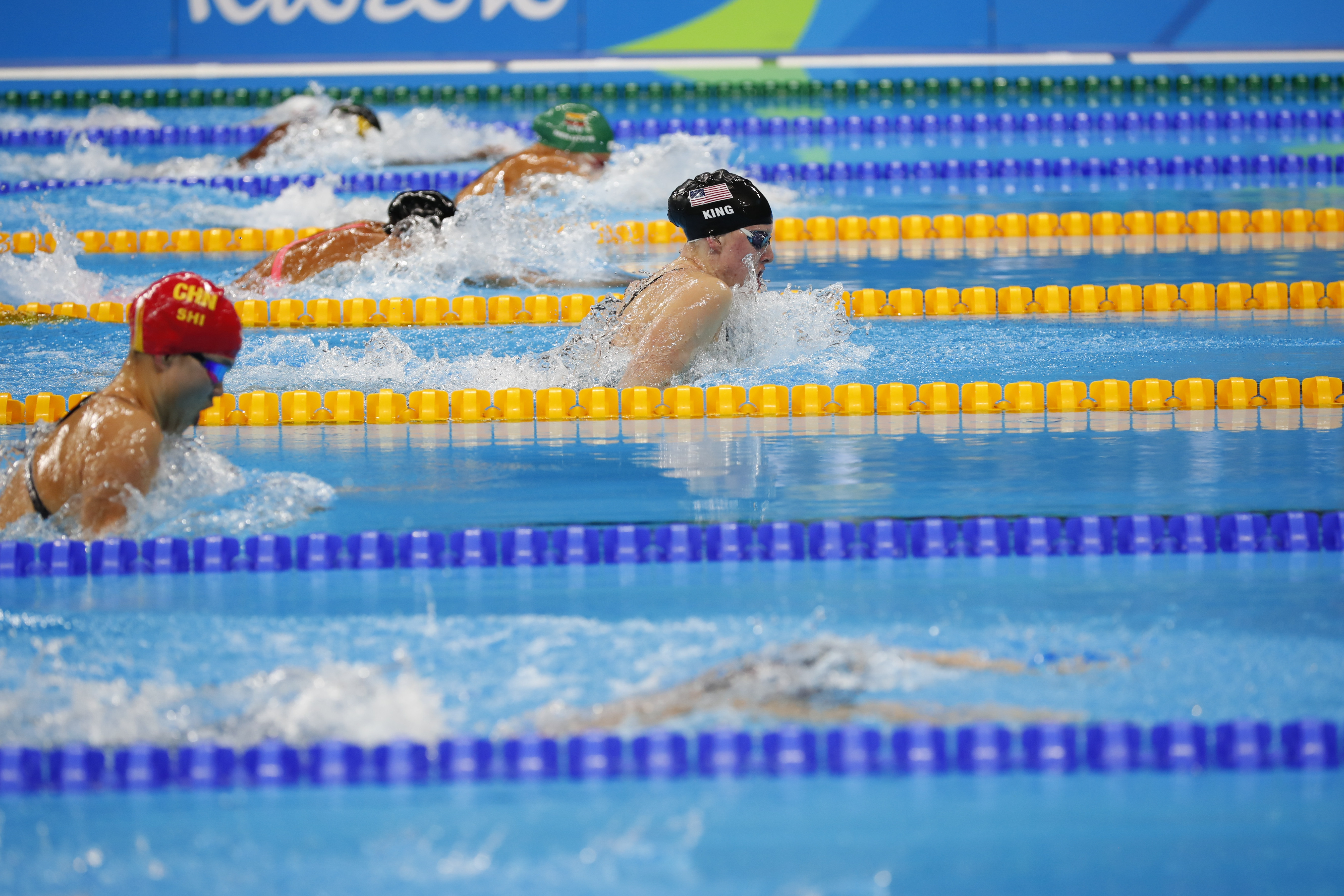 Lilly King, right, competes in the women's 100-meter breaststroke final during the 2016 Summer Olympics.