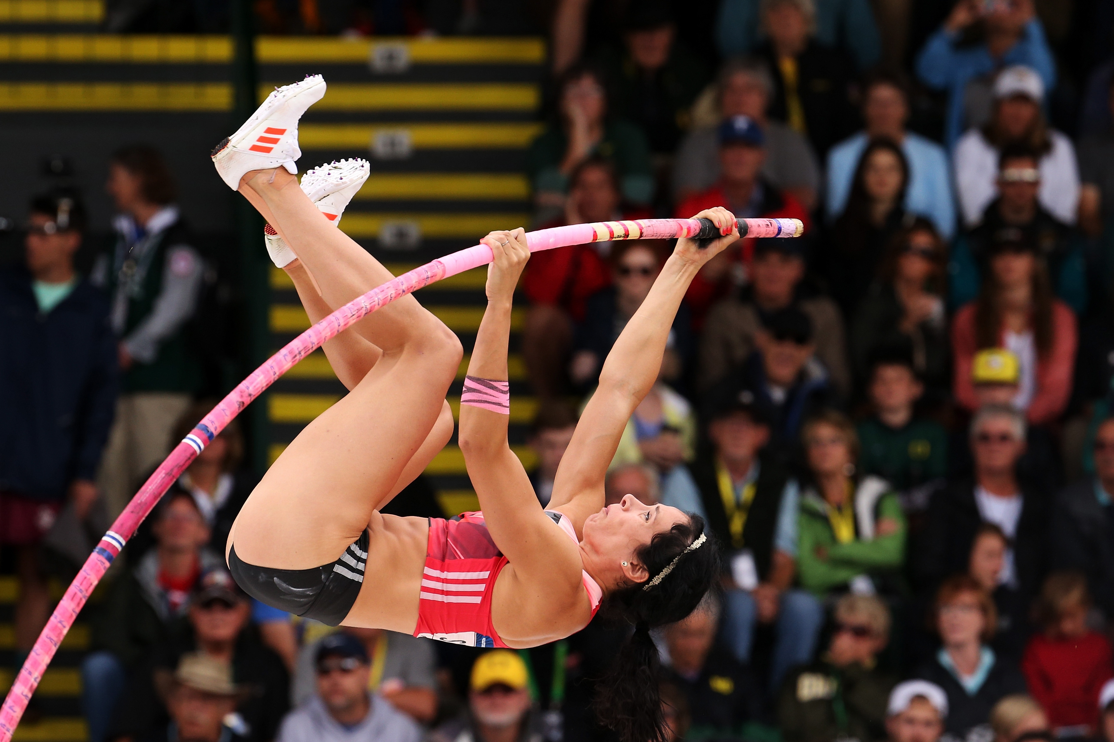 Jenn Suhr, the best female pole vaulter in U.S. history, is suffering from an undetermined illness that has made it hard for her to breathe or speak and will compromise her ability to vault Tuesday. (Getty Images)