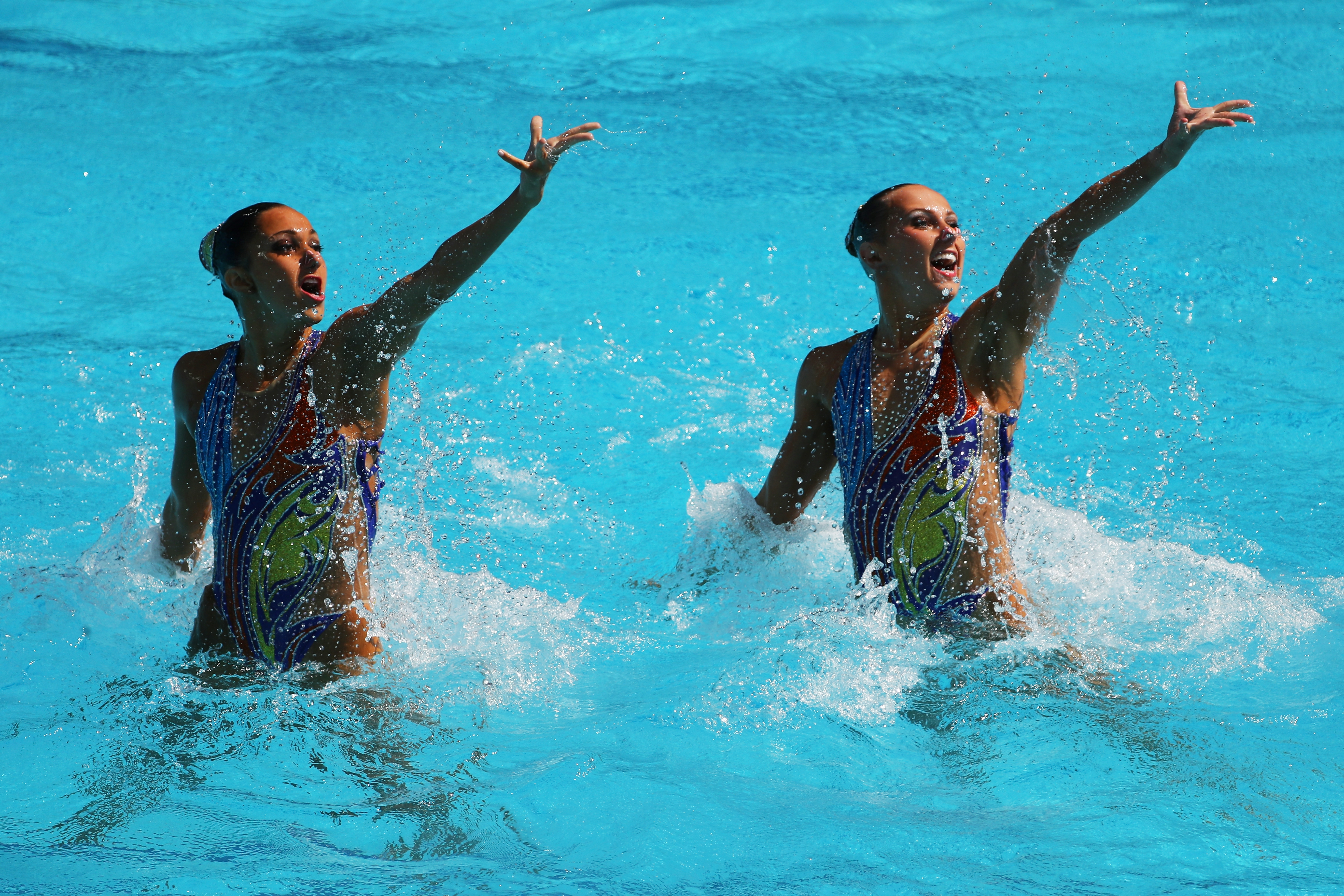 Anita Alvarez and Mariya Koroleva compete Sunday in the 2016 Olympic Games in Rio de Janeiro.  Synchronised  Swimming Free Routine Preliminary Round on Day 9 of the Rio 2016 Olympic Games at Maria Lenk Aquatics Centre on August 14, 2016 in Rio de Janeiro, Brazil.  (Photo by Al Bello/Getty Images)