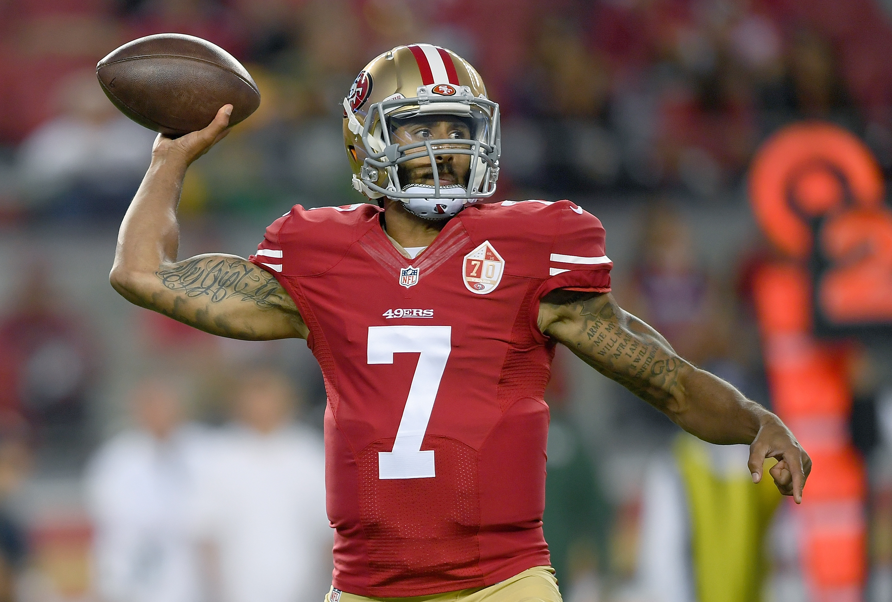 Colin Kaepernick staged his own silent protest during the National Anthem Friday.