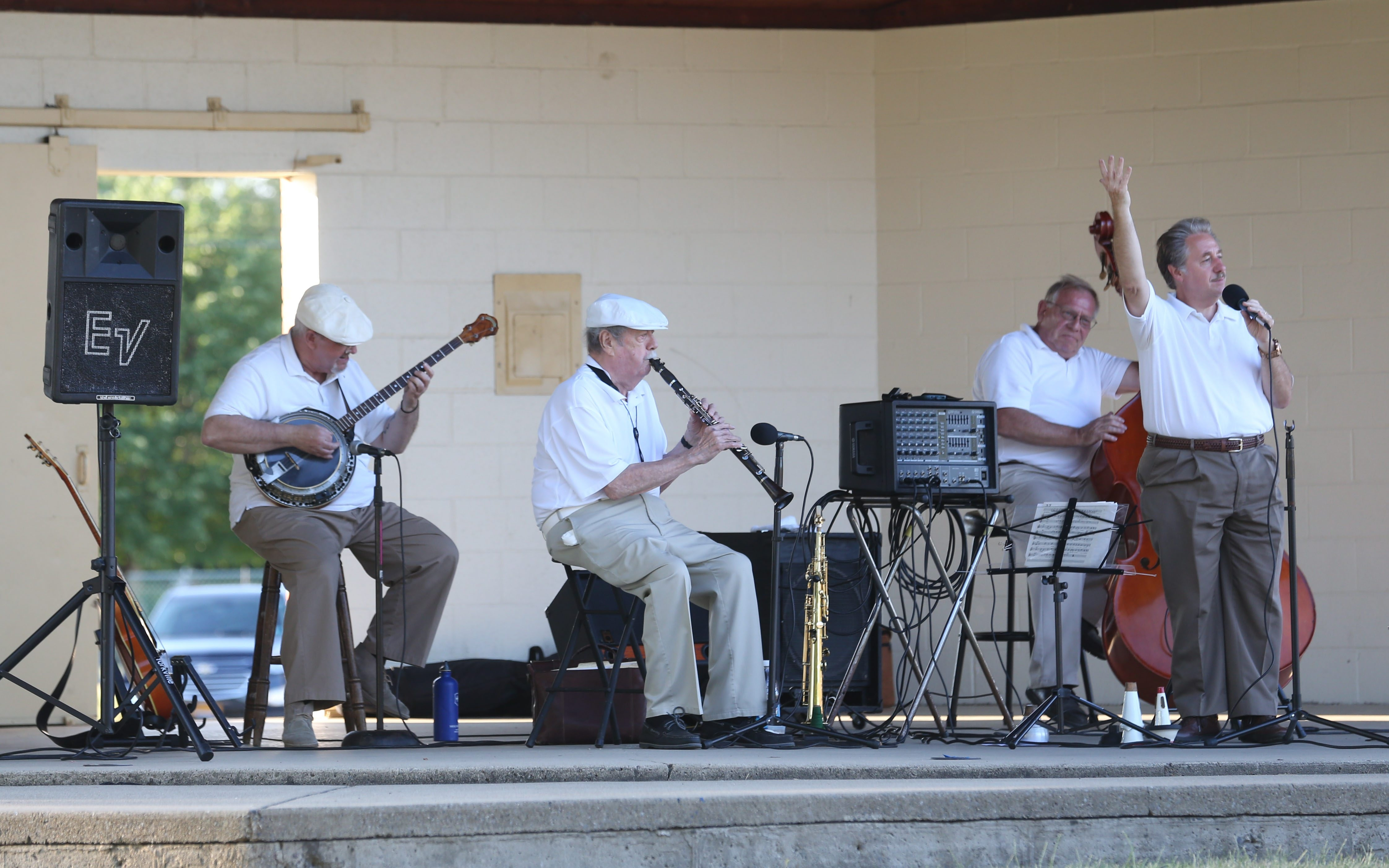 Bar-Room Buzzards, a traditional jazz band has been around for 50 years.  They've travelled all over the country. They're playing at West Seneca Lions Club's summer concert series, Monday, June 27, 2016. From left are Warren Stirtzinger, Paul Preston,  Paul Zapalowski and Lew Custode.  (Sharon Cantillon/Buffalo News)