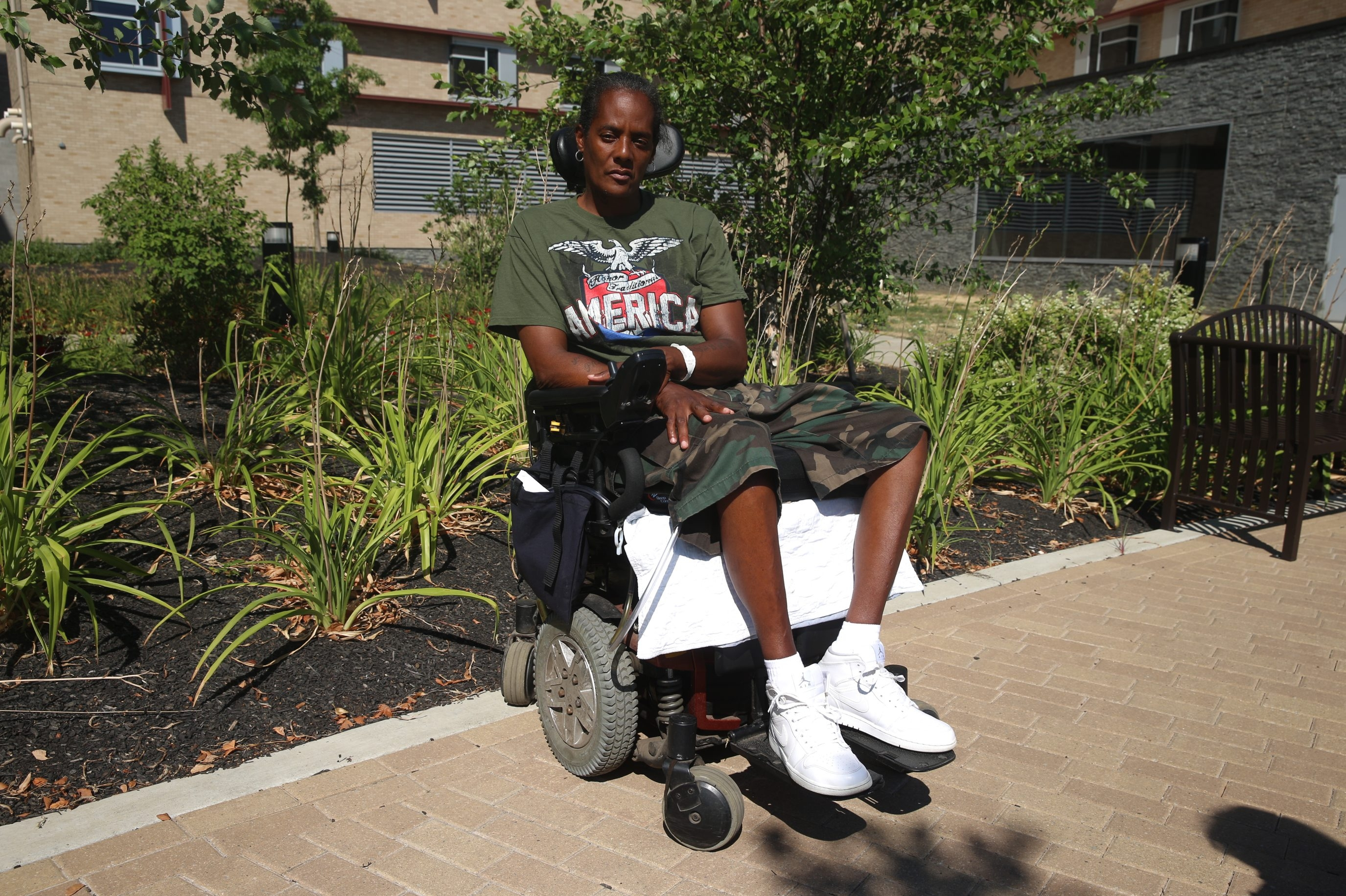 Tara Hall was wounded and lost the use of her legs back in Halloween 2012 in a home invasion witness intimidation shooting. Sen. Schumer helped her, but now she is on the verge of losing her Section 8 housing stipend and does not want to spend her life in a nursuing home  outside at Terrrace View nursing home at ECMC on Grider Street   in Buffalo, N.Y., on Tuesday Aug. 2, 2016. (John Hickey/Buffalo News)