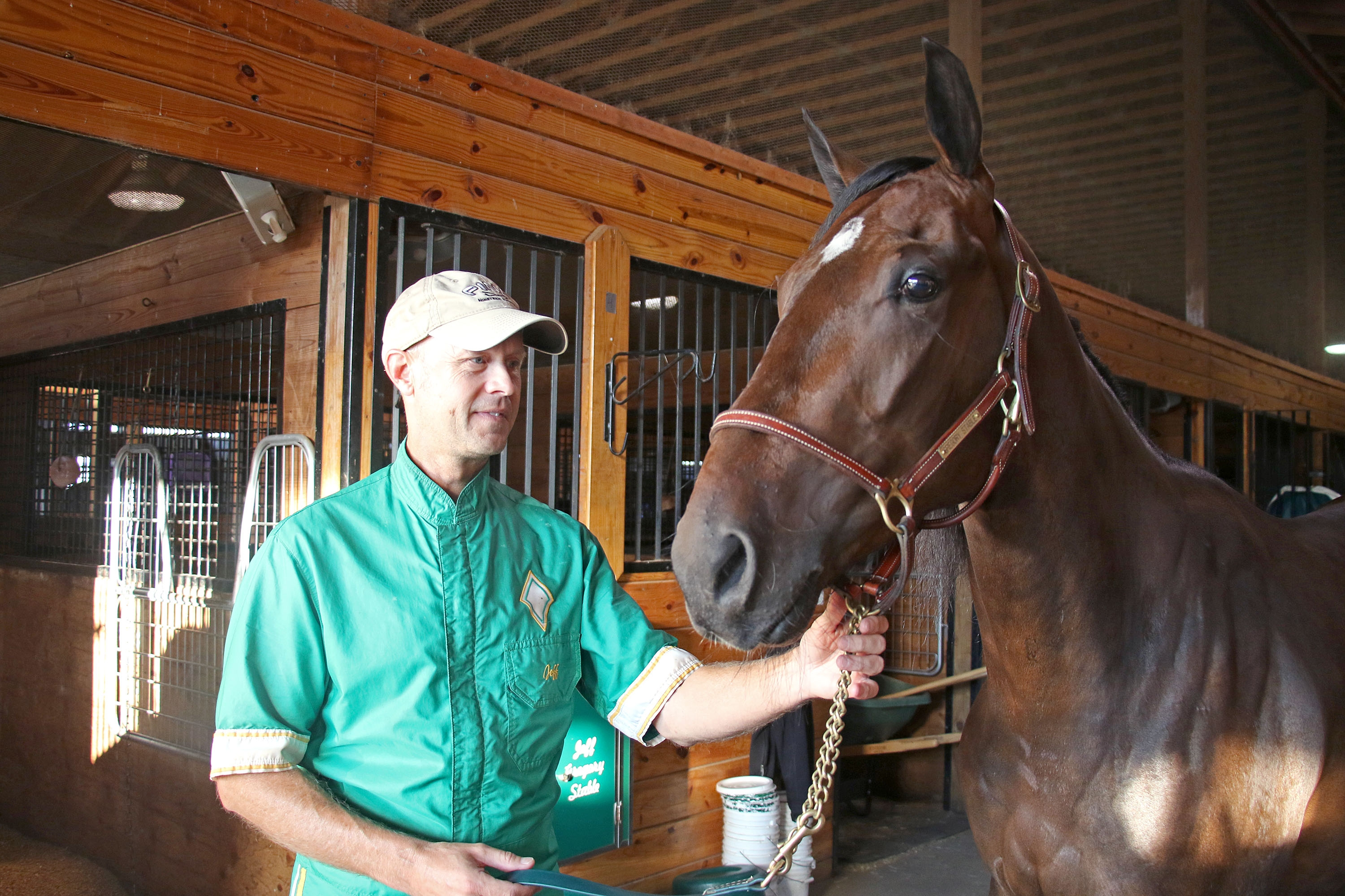 Trainer/driver Jeff Gregory with Hambletonian entry Tight Lines. (Mark Hall/USTA)