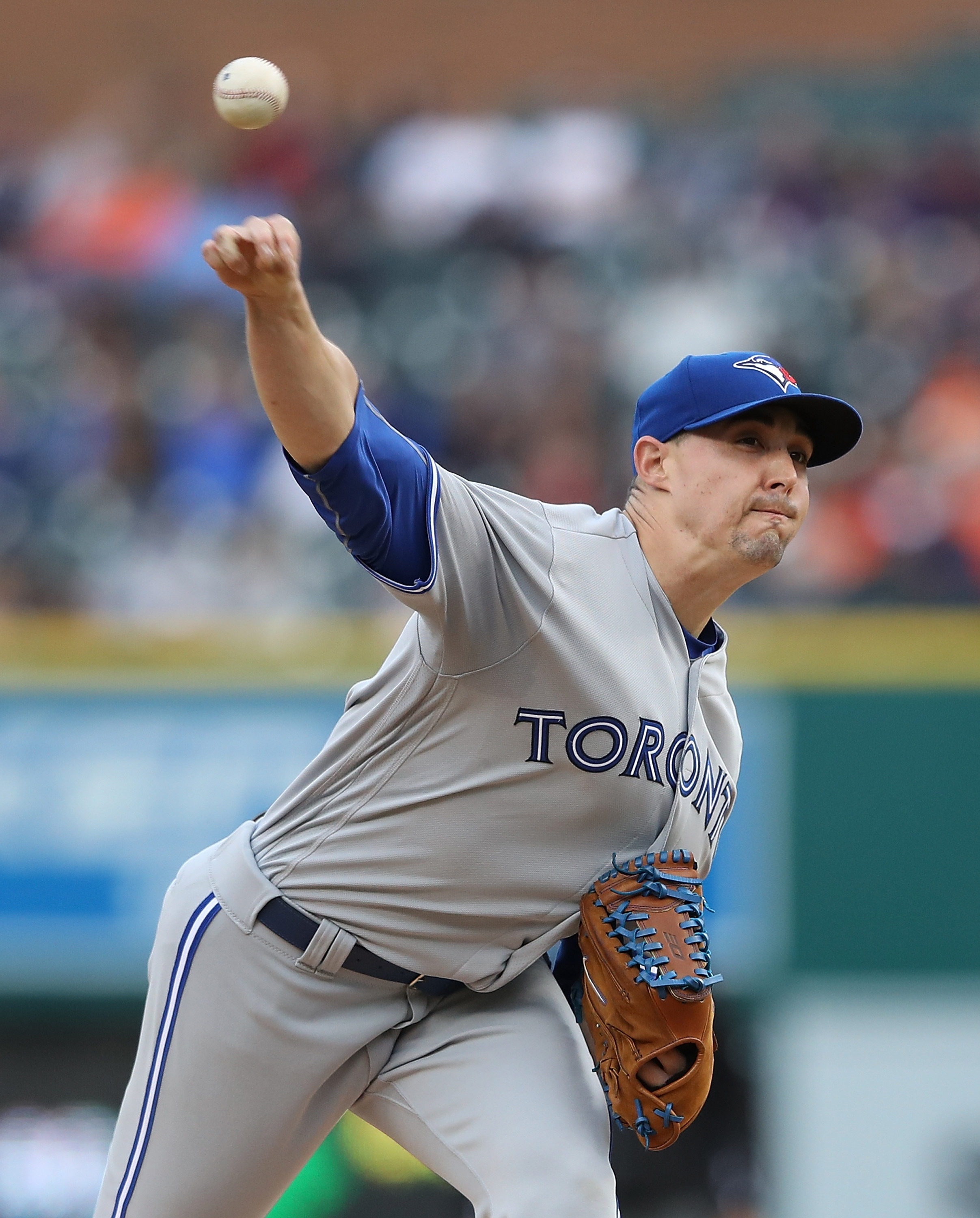Aaron Sanchez of the Toronto Blue Jays pitches during the first inning of a start earlier this season.