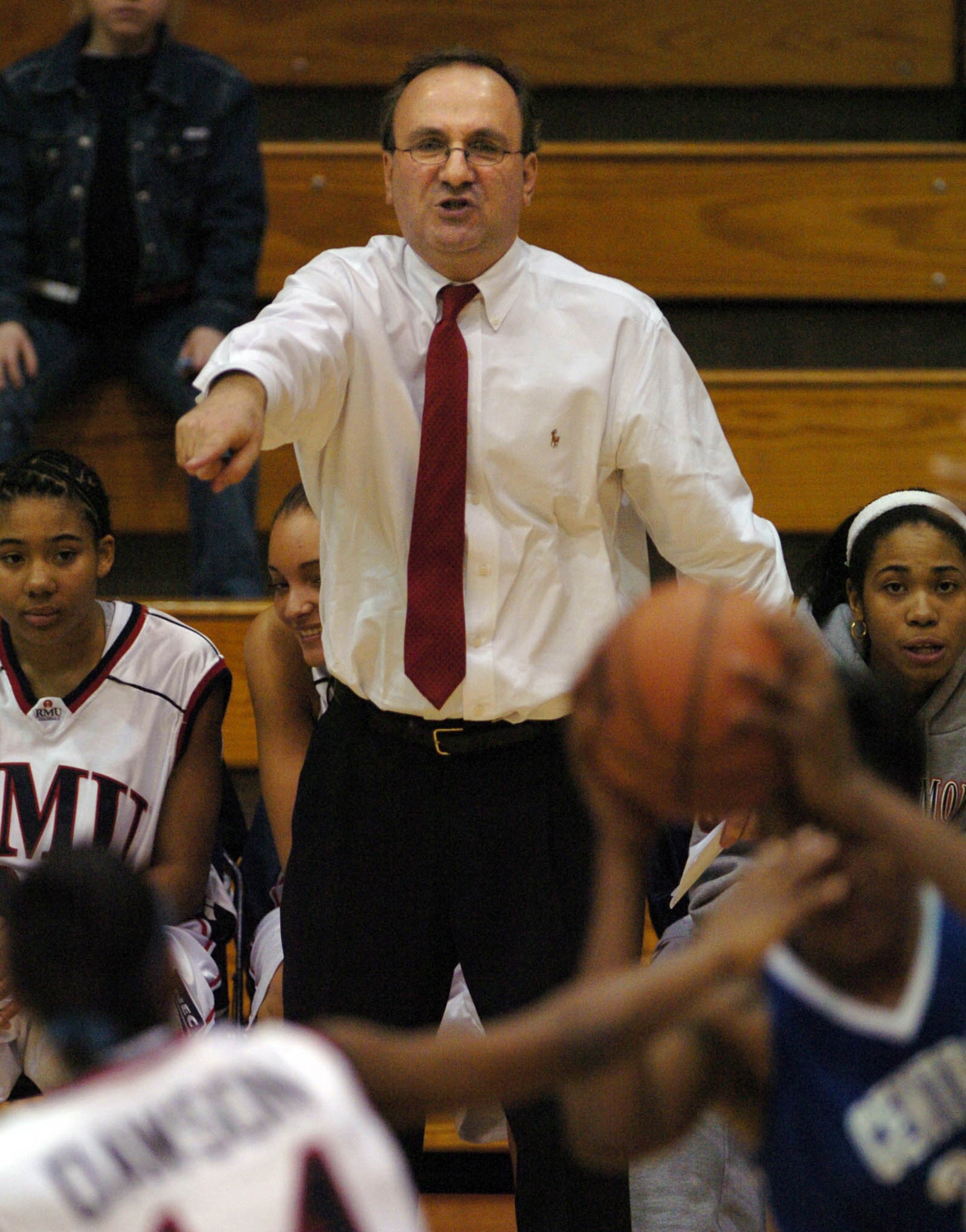 Sal Buscaglia shouts out instructions during a Robert Morris game (News file photo).