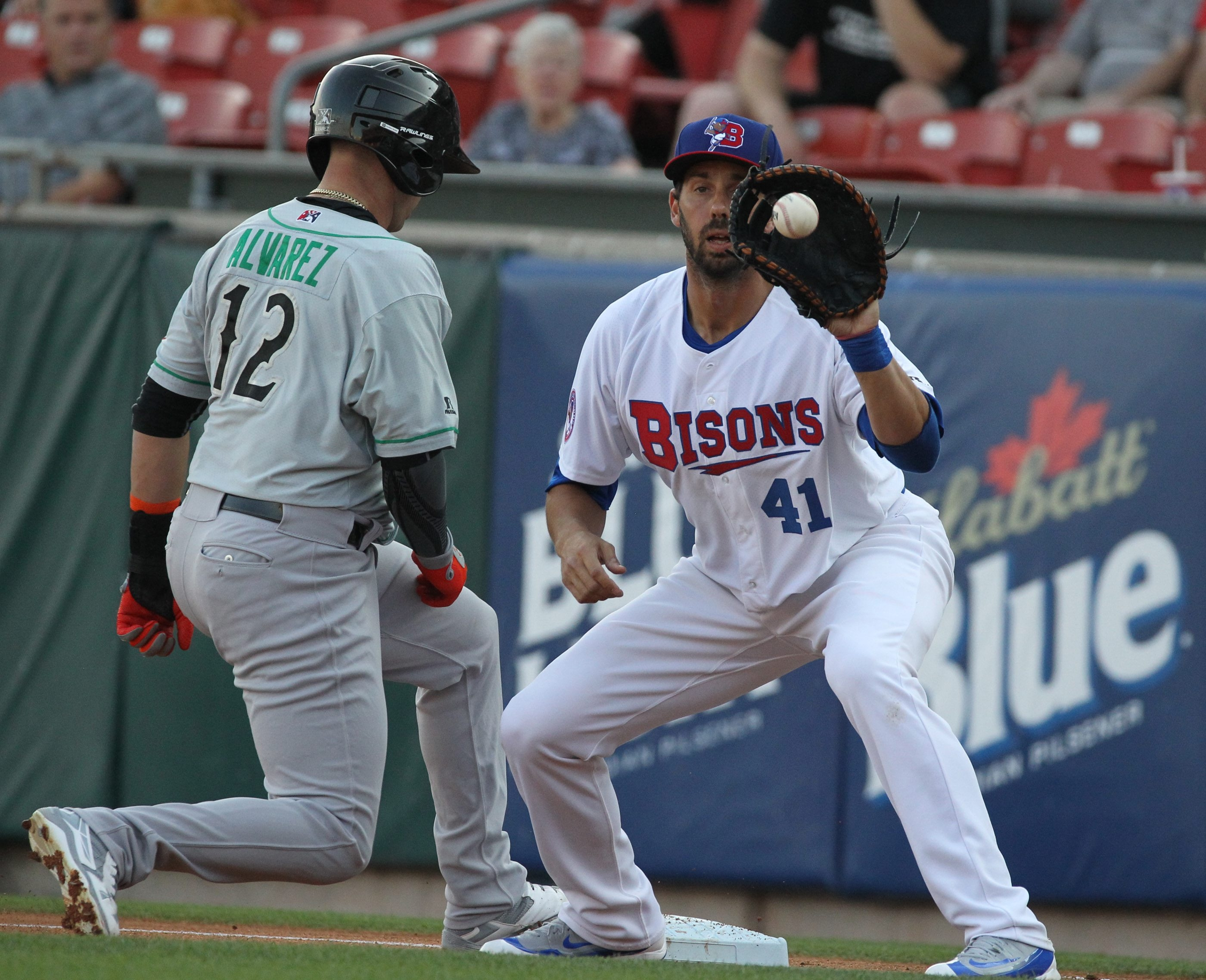 First baseman Chris Colabello and the Bisons return home on Tuesday to face Indianapolis.