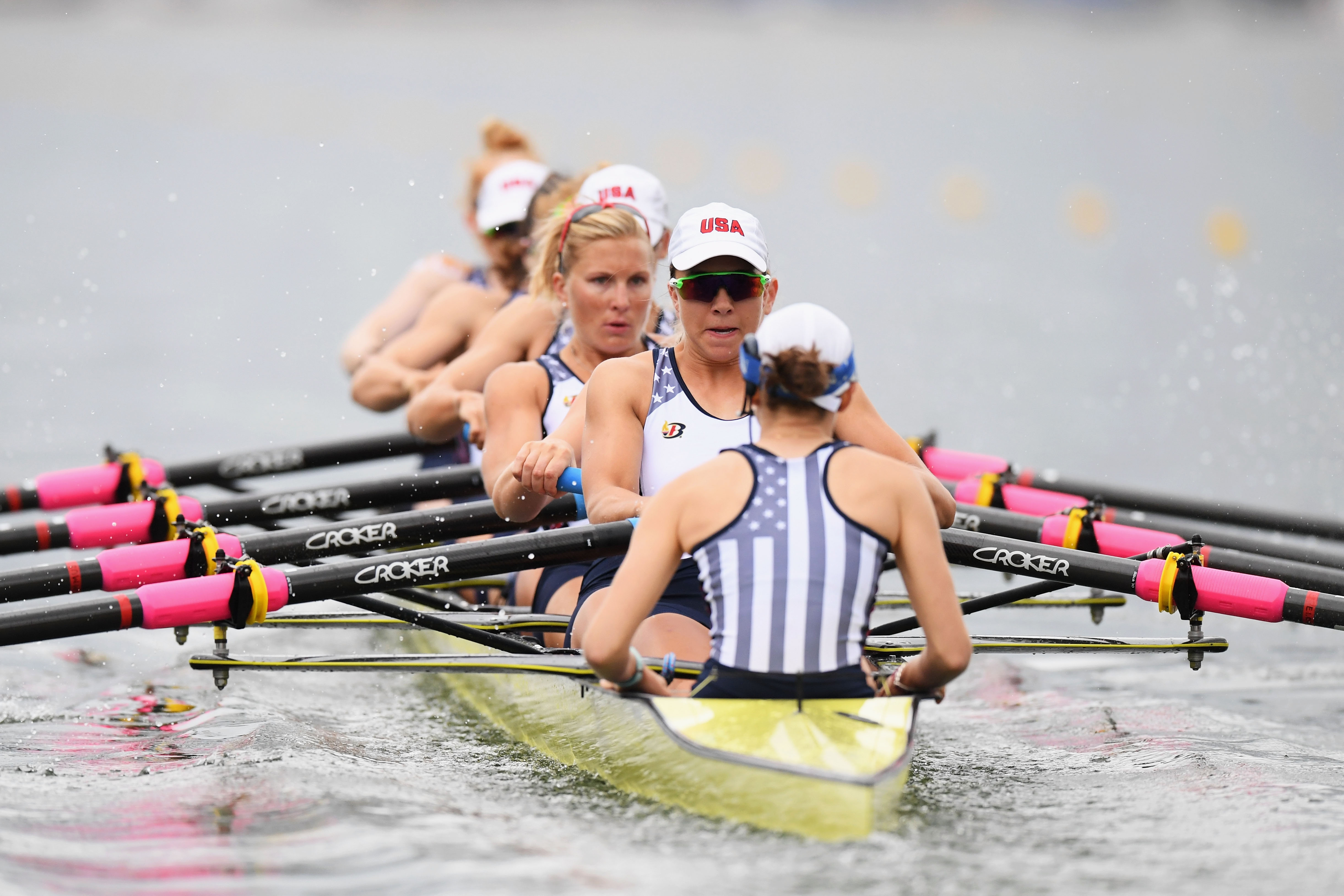 The victorious U.S. eight was more than three seconds faster than the next best crew in Monday's women's rowing qualifying heats.