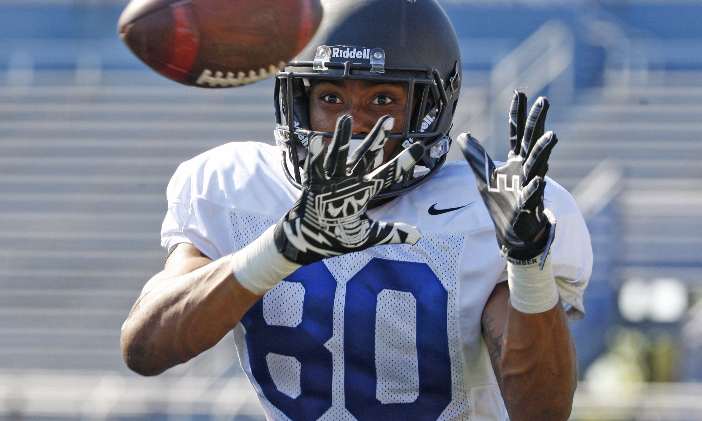 Senior receiver Malcolm Robinson, catching a pass at practice on Tuesday, chose UB over Bowling Green, Toledo and Ball State when recruited out of high school. (Harry Scull Jr./Buffalo News)