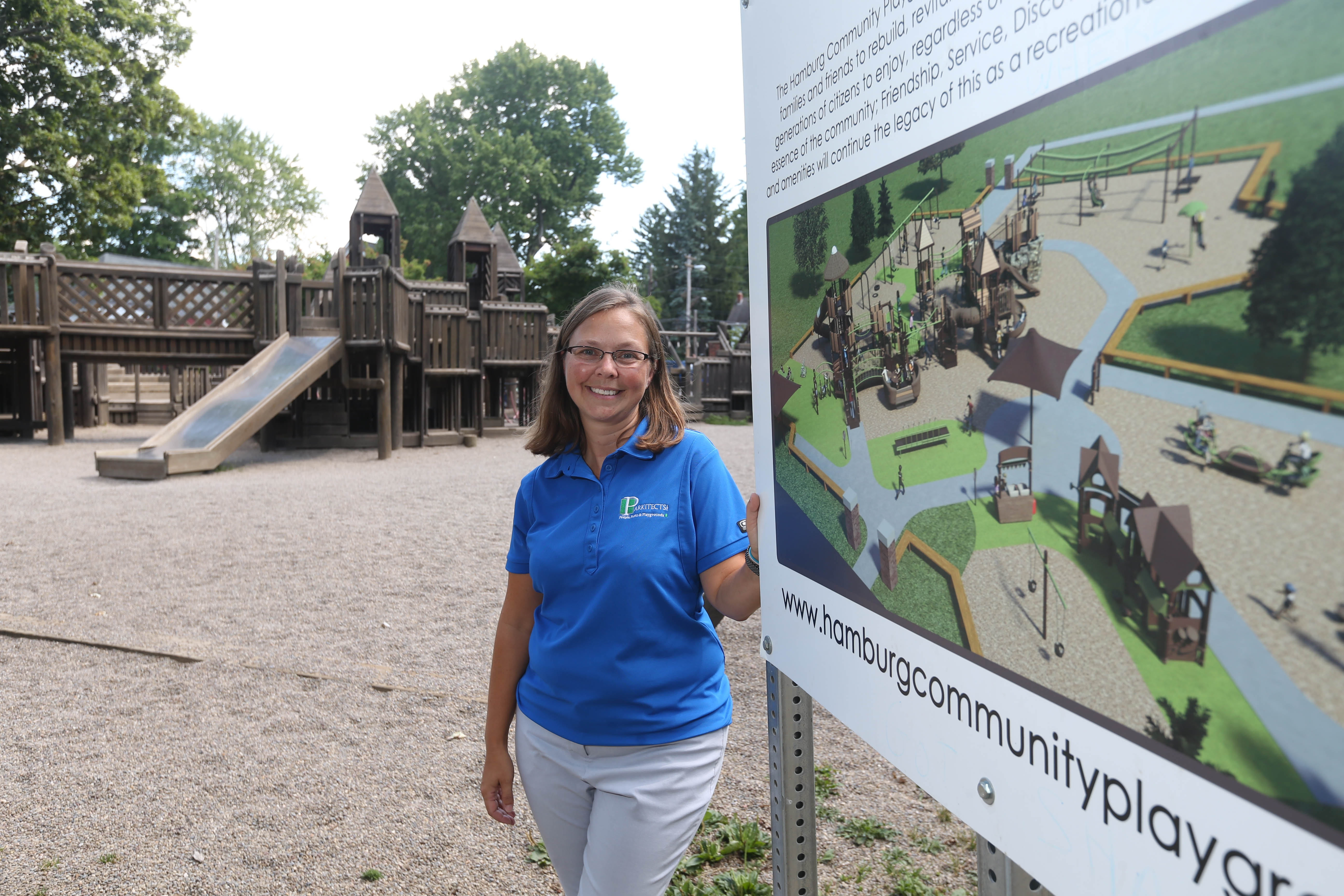 """""""We wanted to make sure it was all-inclusive, for kids ages 2 to 12 and for all abilities. We're really paying homage to the existing one, picking similar color palettes, similar pieces with the roofs, incorporating pieces the kids really like."""" – Landscape architect Lynn Mason, on the new Hamburg Community Playground that she designed for her hometown"""