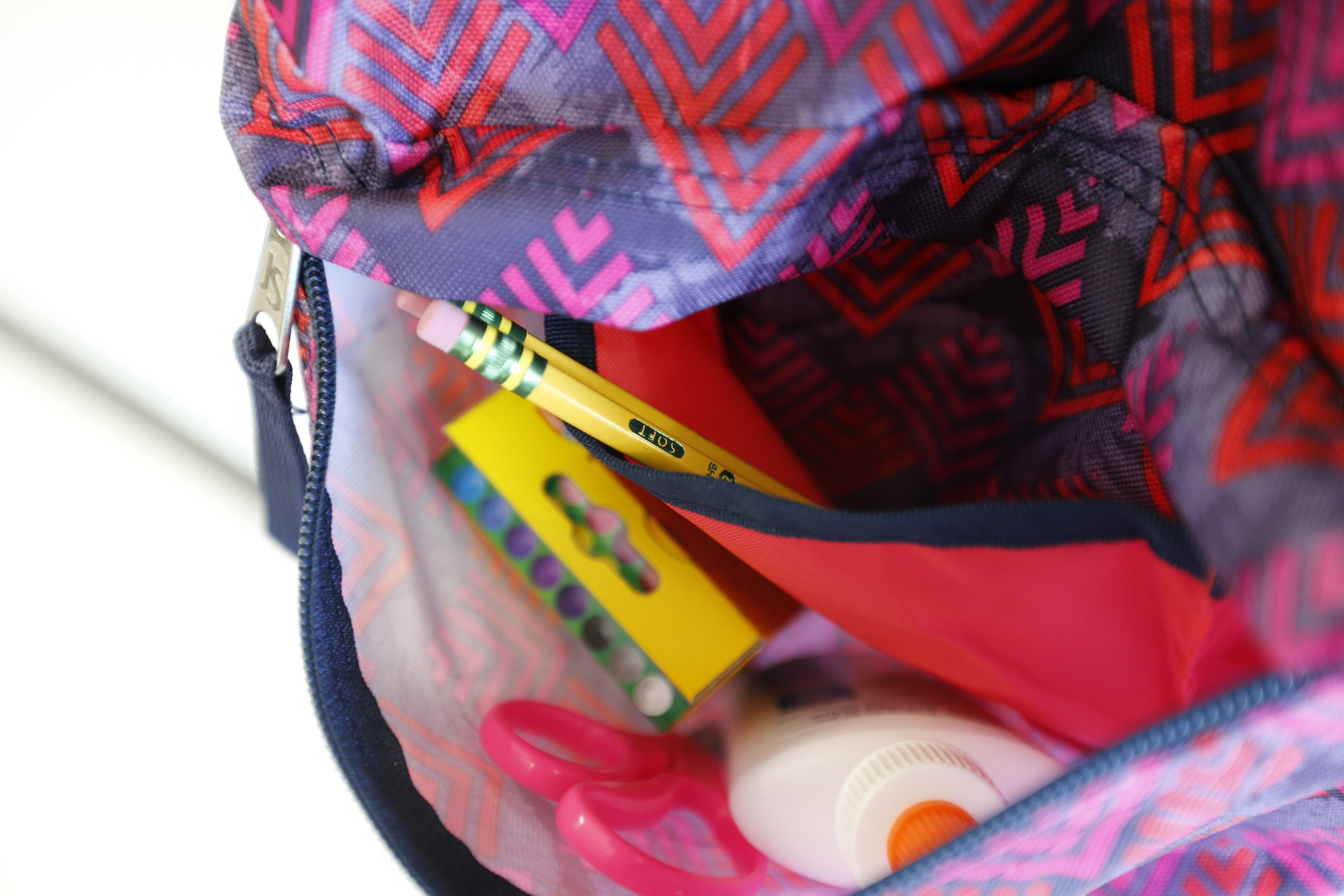 Pockets in Jessica Cwierley's backpack help keep her organized.