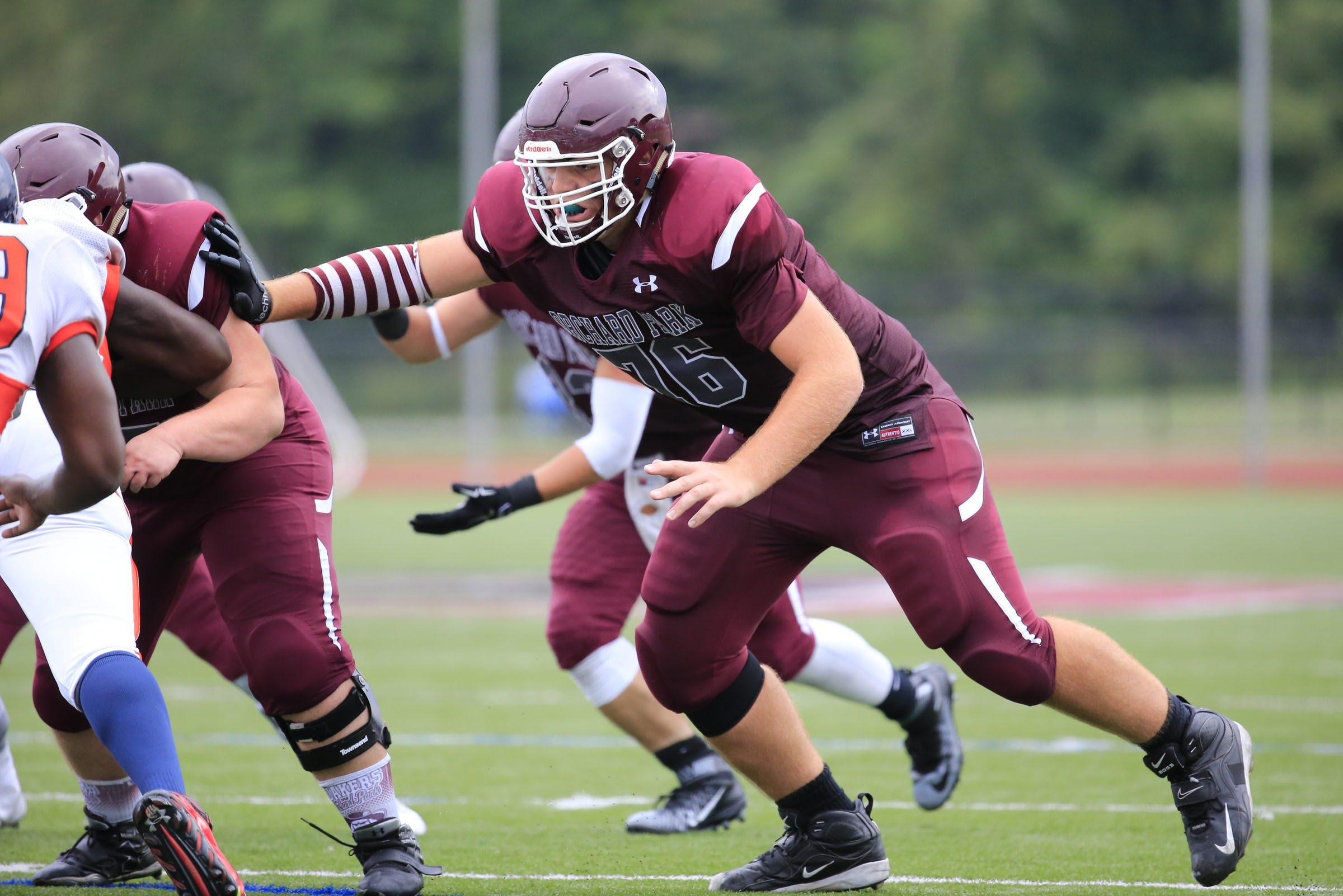 Offensive lineman Dan Kubik and Orchard Park open the season Friday night by hosting Pittsford of Section V.        blocks against Bennett during action at Orchard Park High School on Saturday, Sept. 19, 2015.  (Harry Scull Jr./Buffalo News)  2015 All-Western New York underclassmen: Two All-WNY first team linemen who could be finalists for the Trench Trophy call Class AA South home. Six-foot-7 Dan Kubik of Orchard Park comes off a season in which he was honored for his work on the offensive line.  Defending Class AA champion Orchard Park Week One (Sept. 2-3): Opening night features defending champion Orchard Park hosting Pittsford of Section V at 7 p.m.