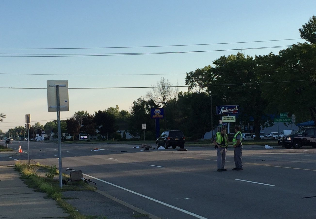 The scene of the accident on Niagara Falls Boulevard in Amherst on Aug. 30. (Aaron Besecker/Buffalo News)