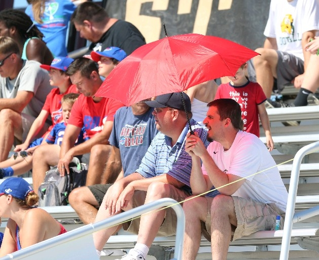 Buffalo Bills fans cover up in the hot sun during practice at St. John Fisher College on a 93-degree day in Rochester on Aug. 9. (James P. McCoy/ Buffalo News)