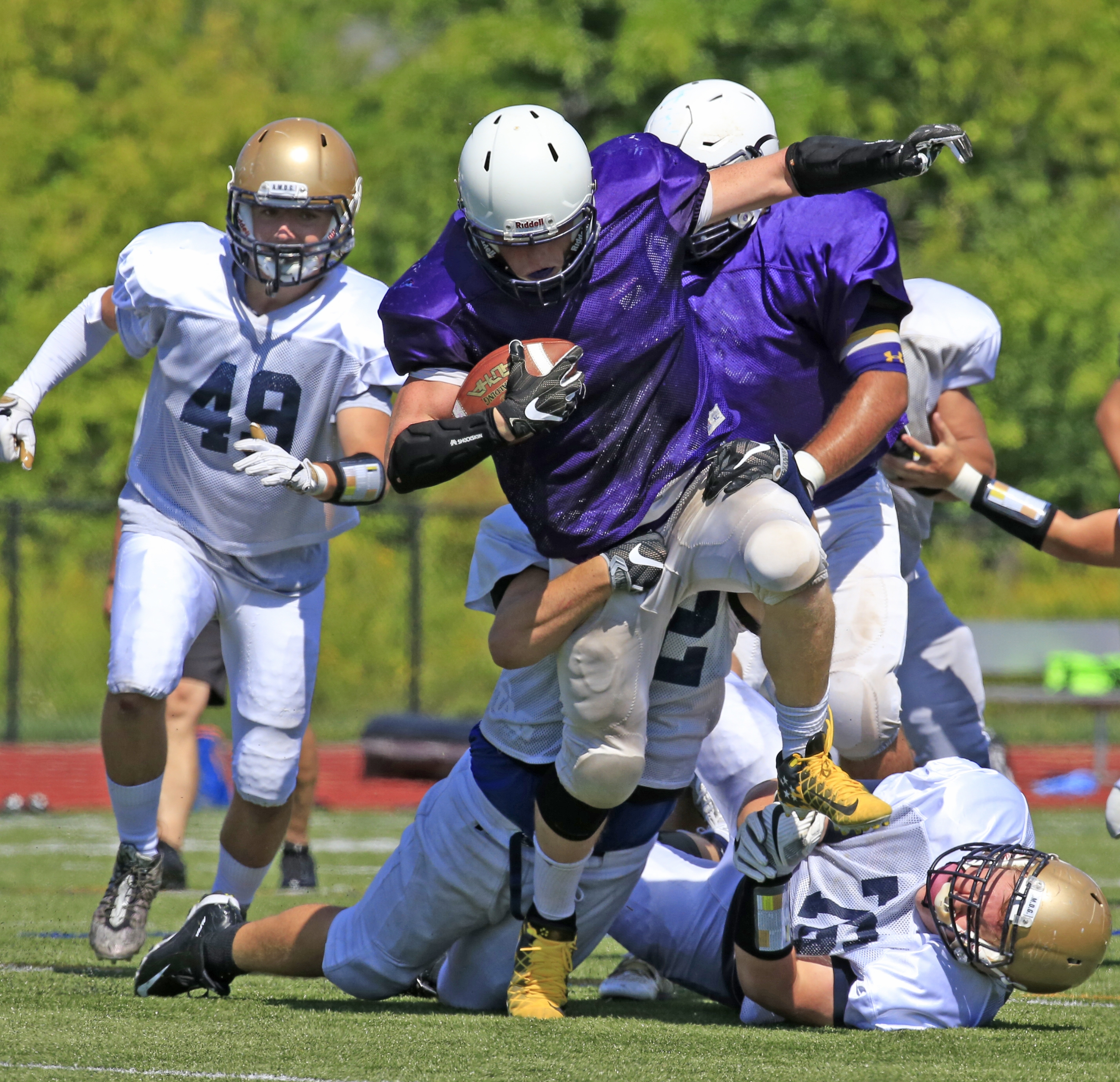 Springville running back Ian Baker, Connolly Cup candidate, runs against Canisius during a preseason scrimmage.