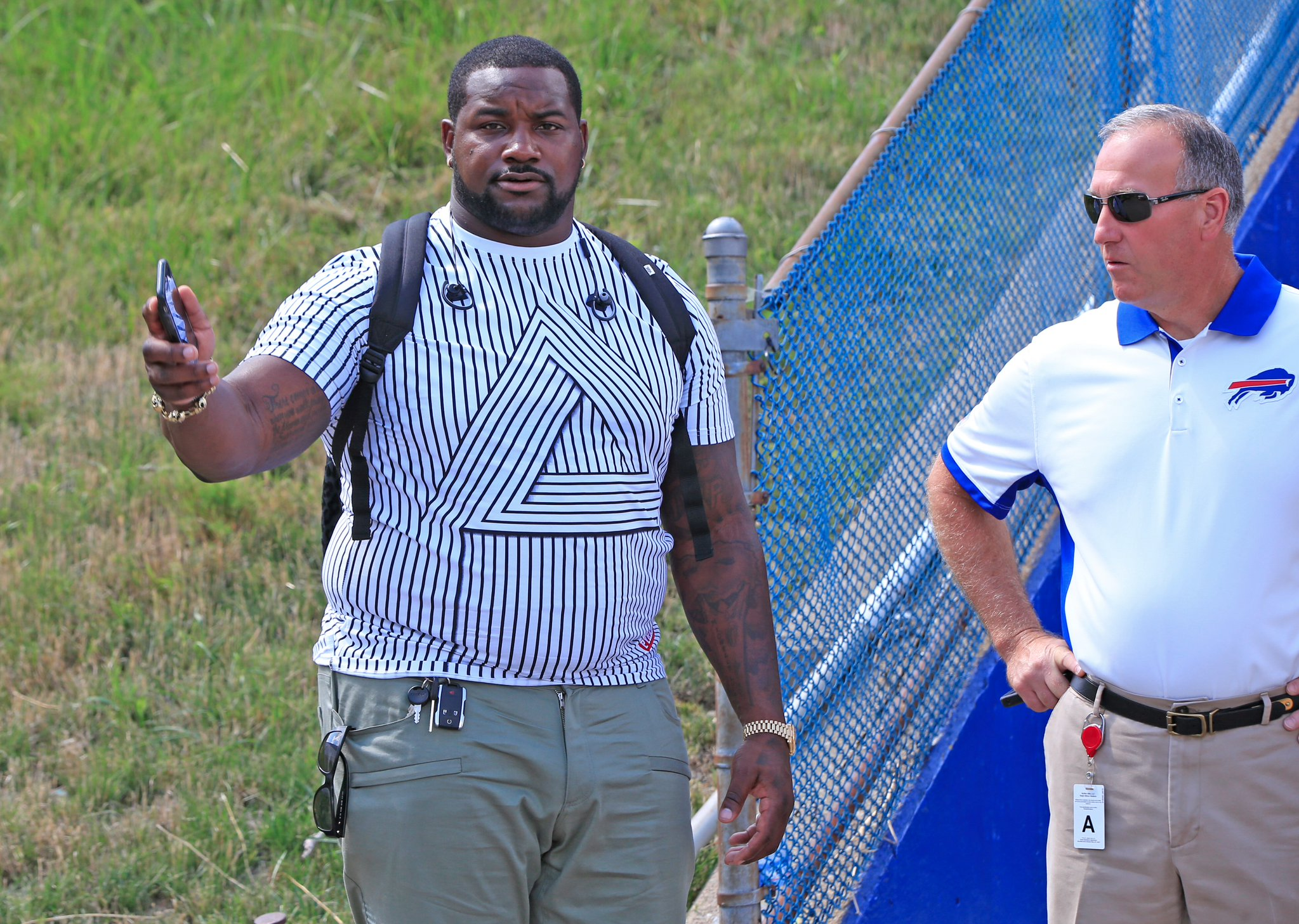 Marcell Dareus leaves New Era Field just before Saturday's preseason game. (Harry Scull Jr./Buffalo News)