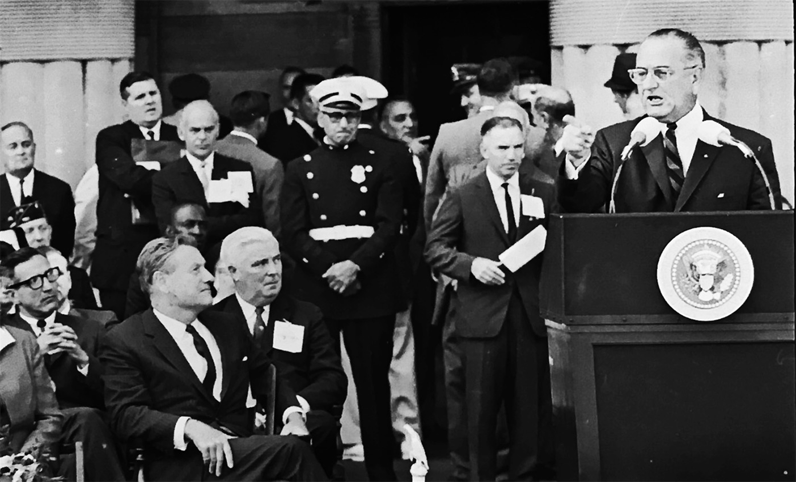 President Lyndon B. Johnson speaks to a crowded Niagara Square on Aug. 19, 1966. (Buffalo News archives)