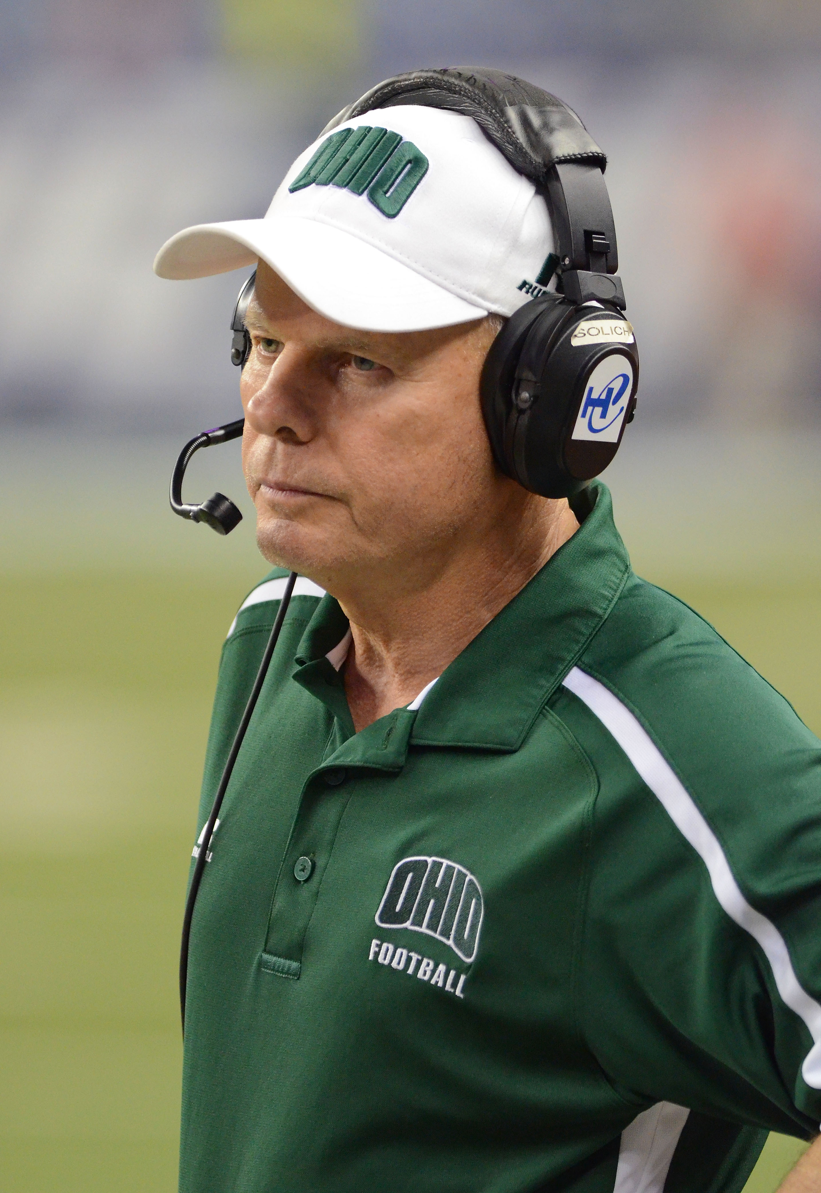 DETROIT, MI - DECEMBER 02: Ohio Bobcats head coach Frank Solich looks on late in the fourth quarter of the MAC Championship game against the Northern Illinois Huskies at Ford Field on December 2, 2011 in Detroit, Michigan. The Huskies defeated the Bobcats 23-20. (Photo by Mark A. Cunningham/Getty Images)